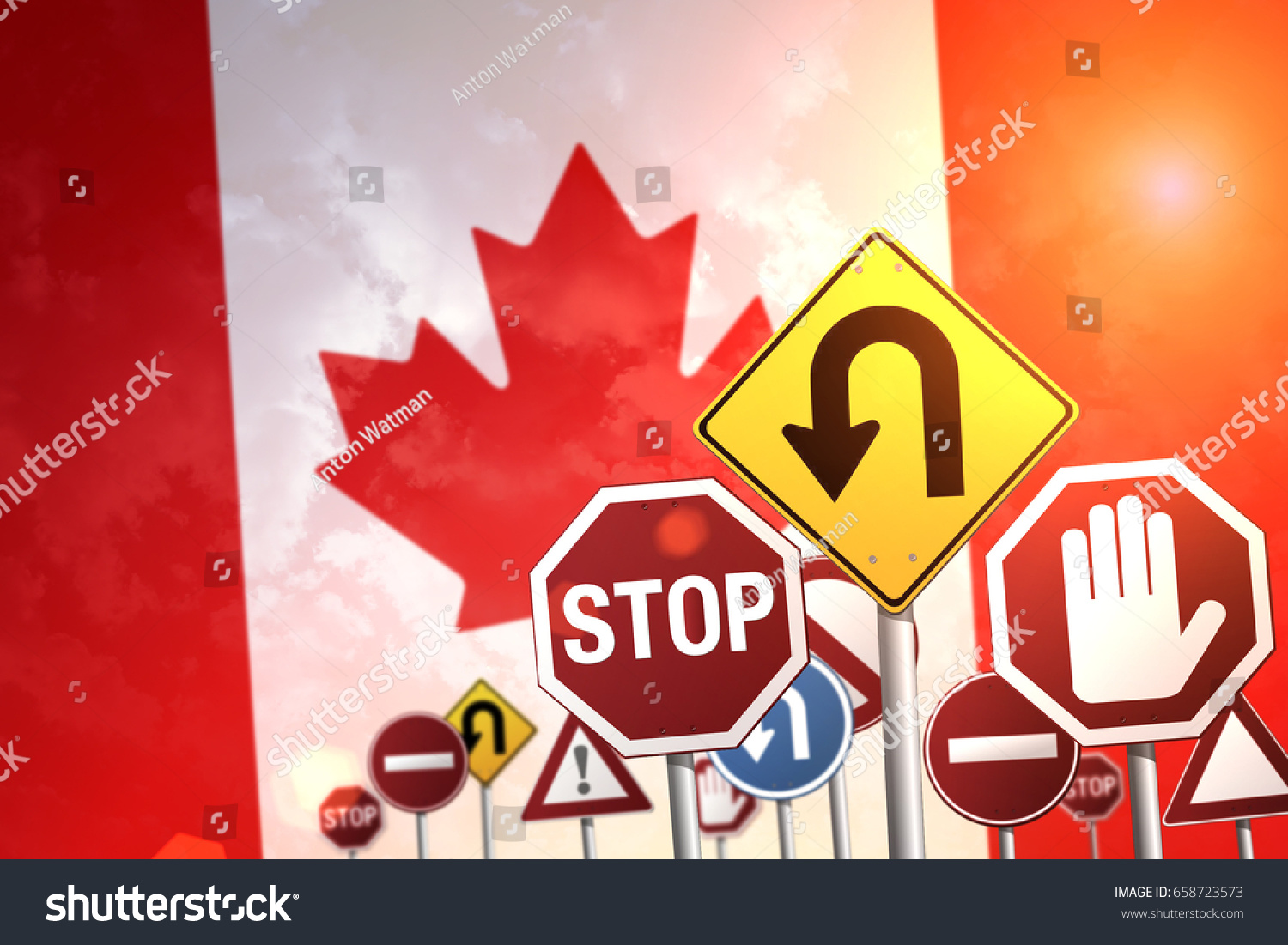 Road Stop Signs On Background Canada Stock Photo (Edit Now