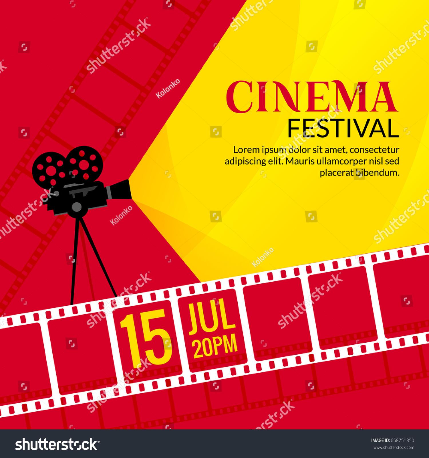 cinema festival poster template vector camcorder のベクター画像素材
