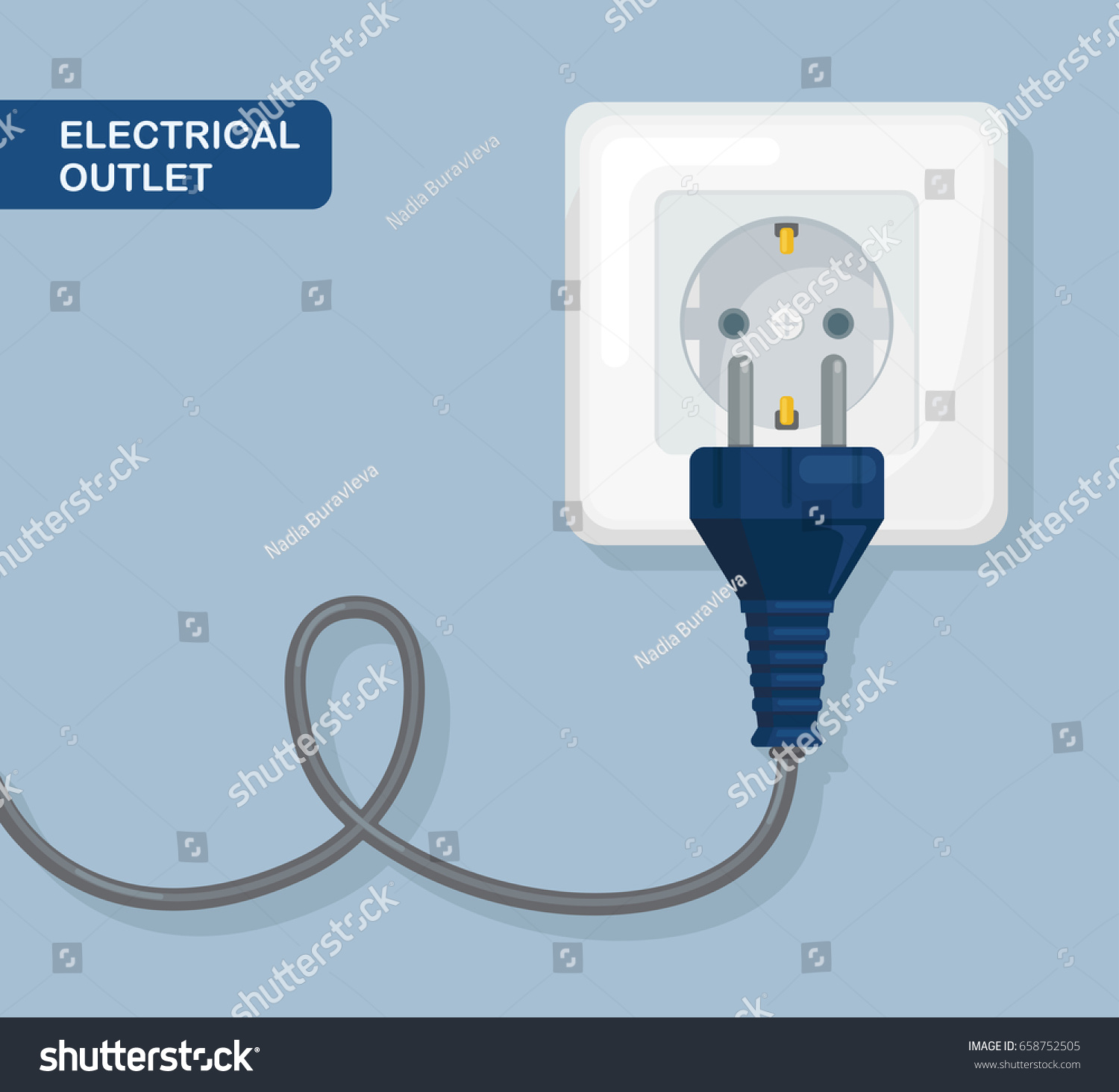 Electricity Plug Power Socket Isolated On Stock Vector (Royalty Free ...
