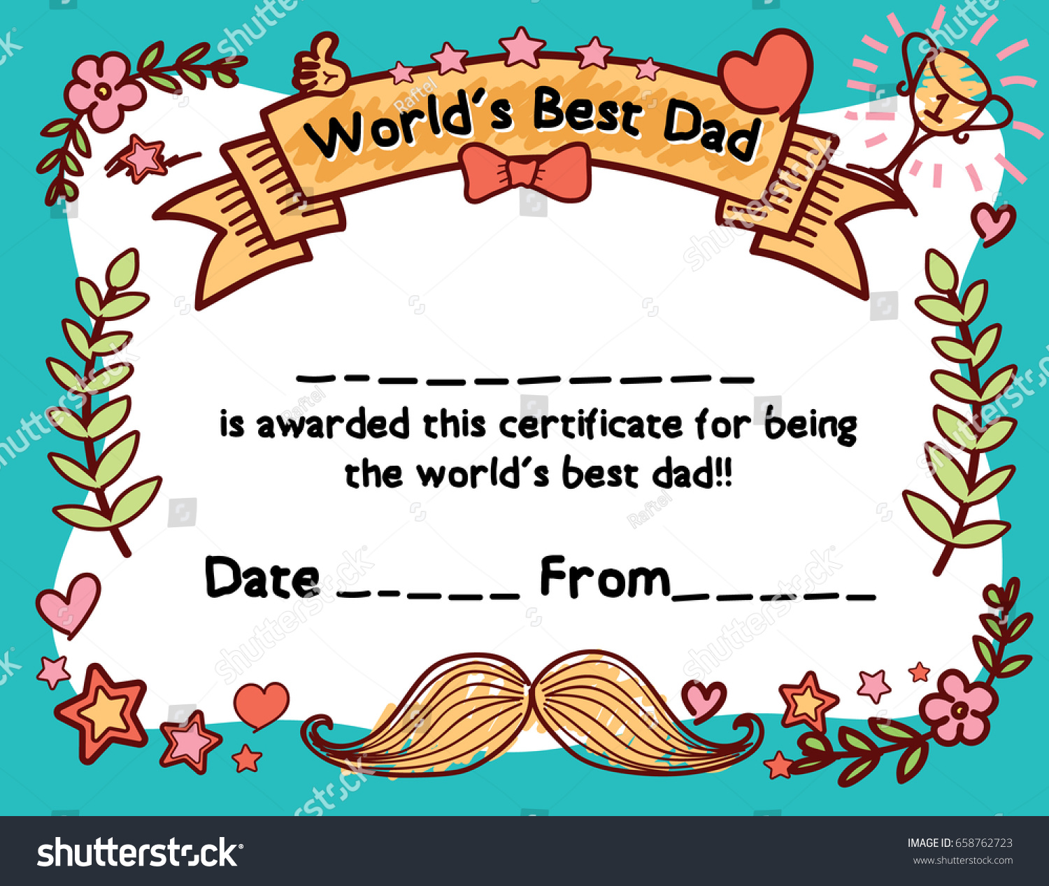 Worlds best dad award certificate template stock vector 658762723 worlds best dad award certificate template for fathers day alramifo Images