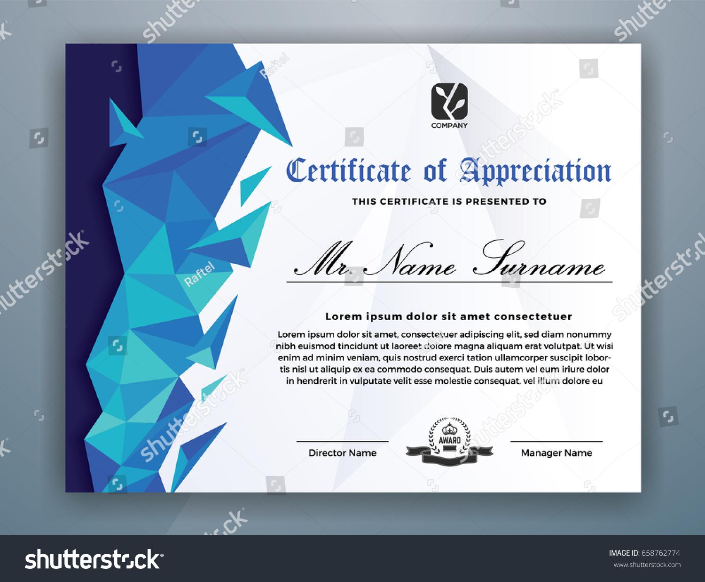 Multipurpose Modern Professional Certificate Template Design Stock