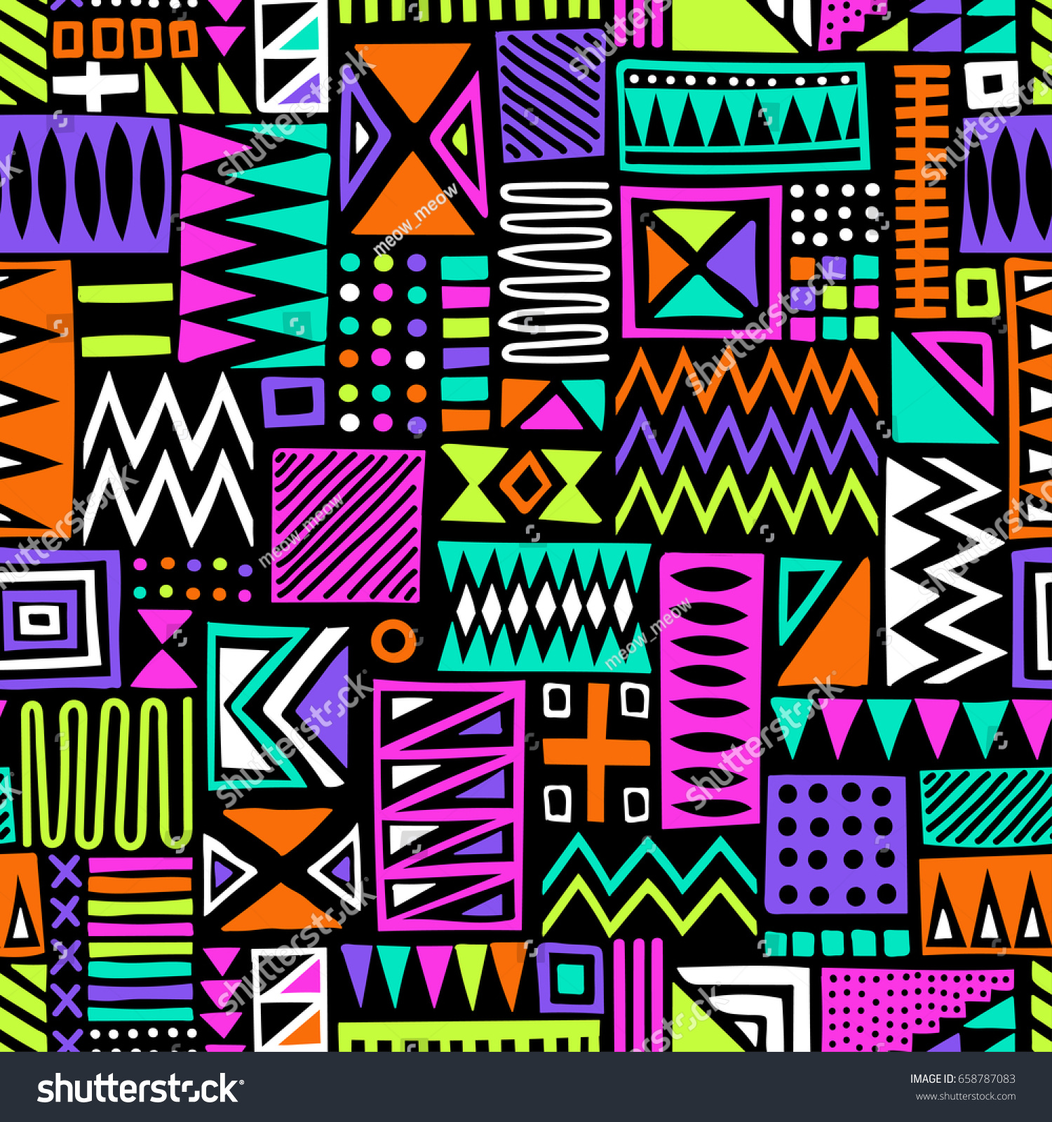 Multicolor Vector Seamless Pattern Abstract Shapes Stock