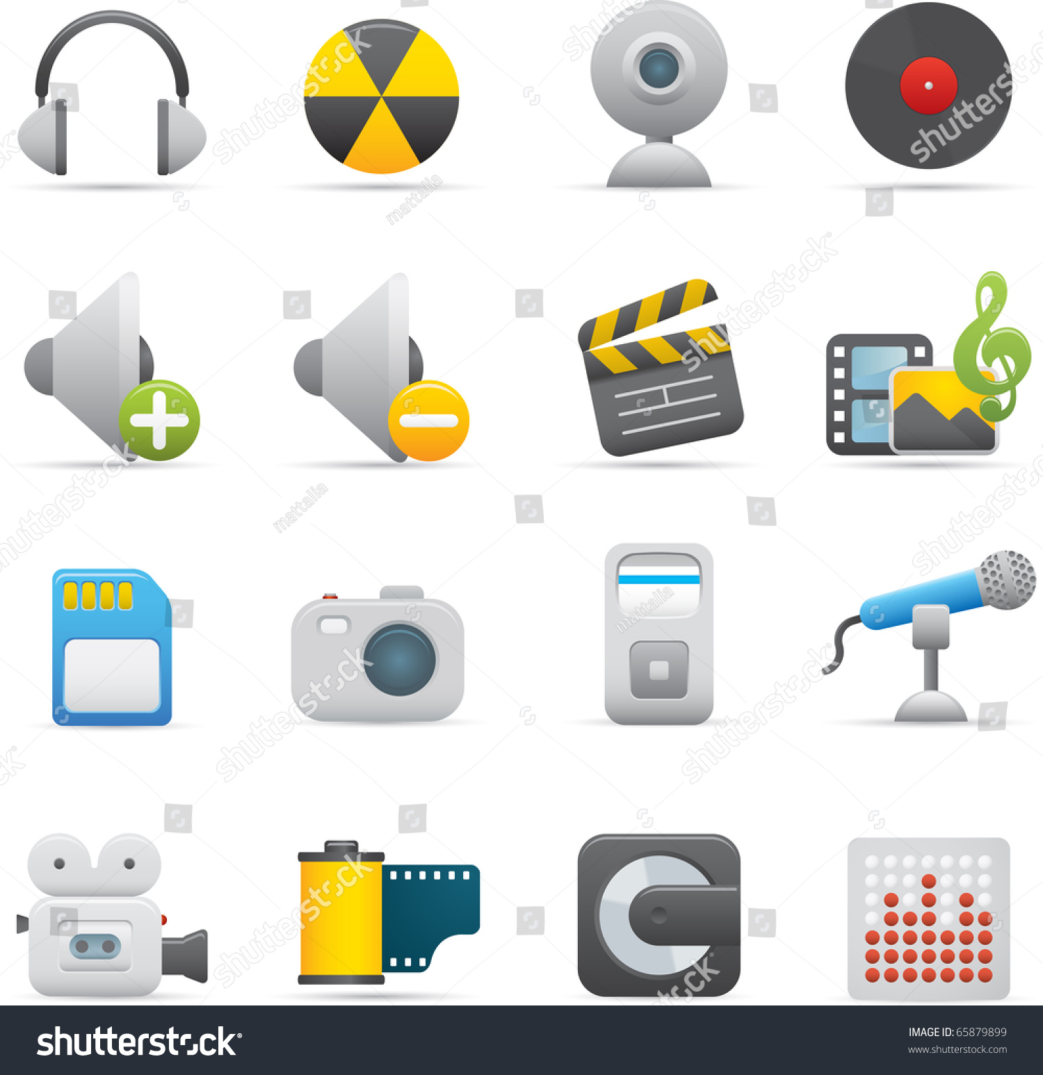 Colors for professional website - 08 Multimedia Icons Professional Vector Set For Your Website Application Or Presentation The