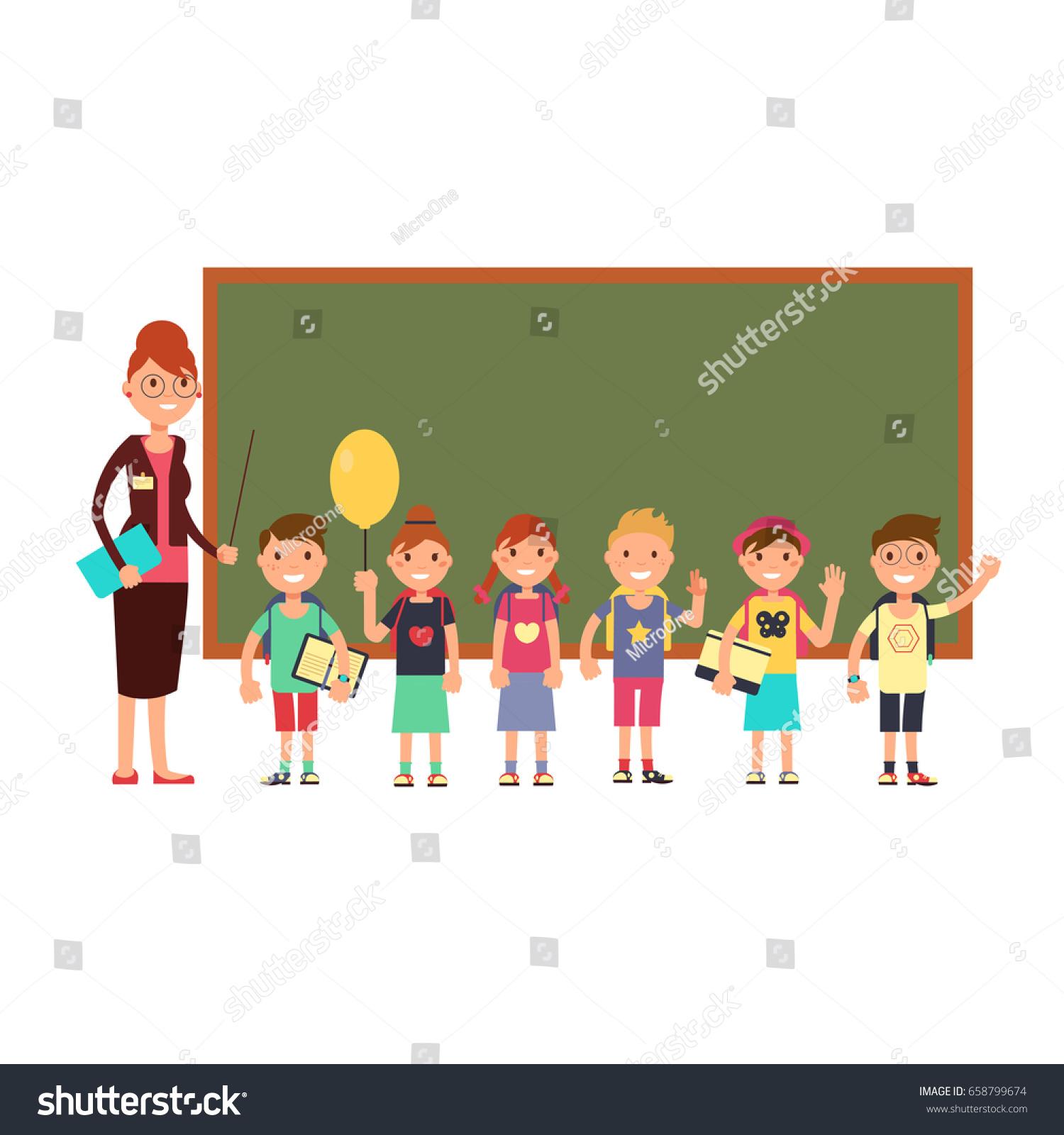 Happy Teacher Kids School Teaching Children Stock Vector ...