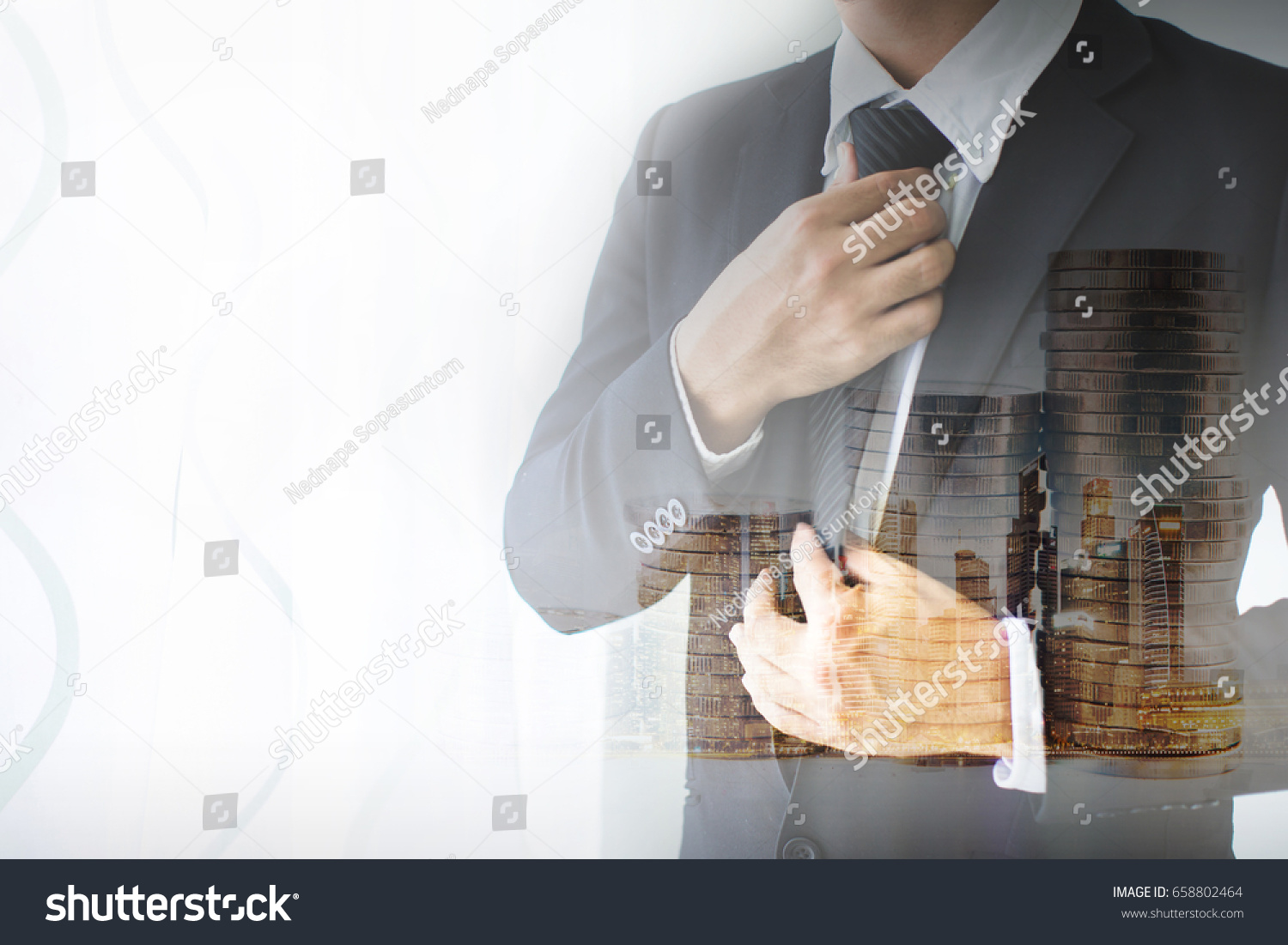 1627f036d9a38 Double exposure People, business,fashion and clothing concept - close up of  man in