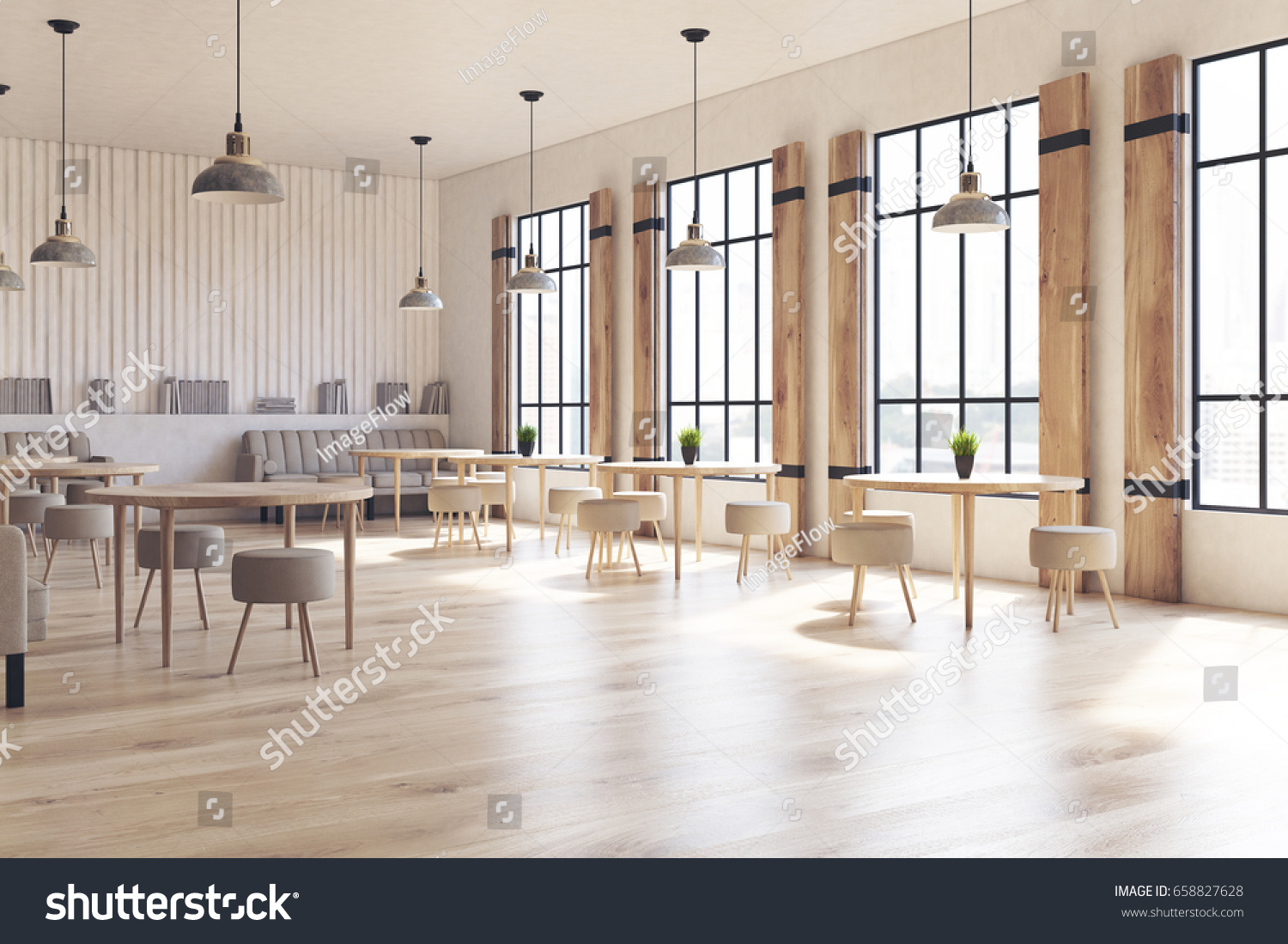 side view of a modern cafe interior with concrete walls and floor wooden shutters at - Concrete Cafe Interior