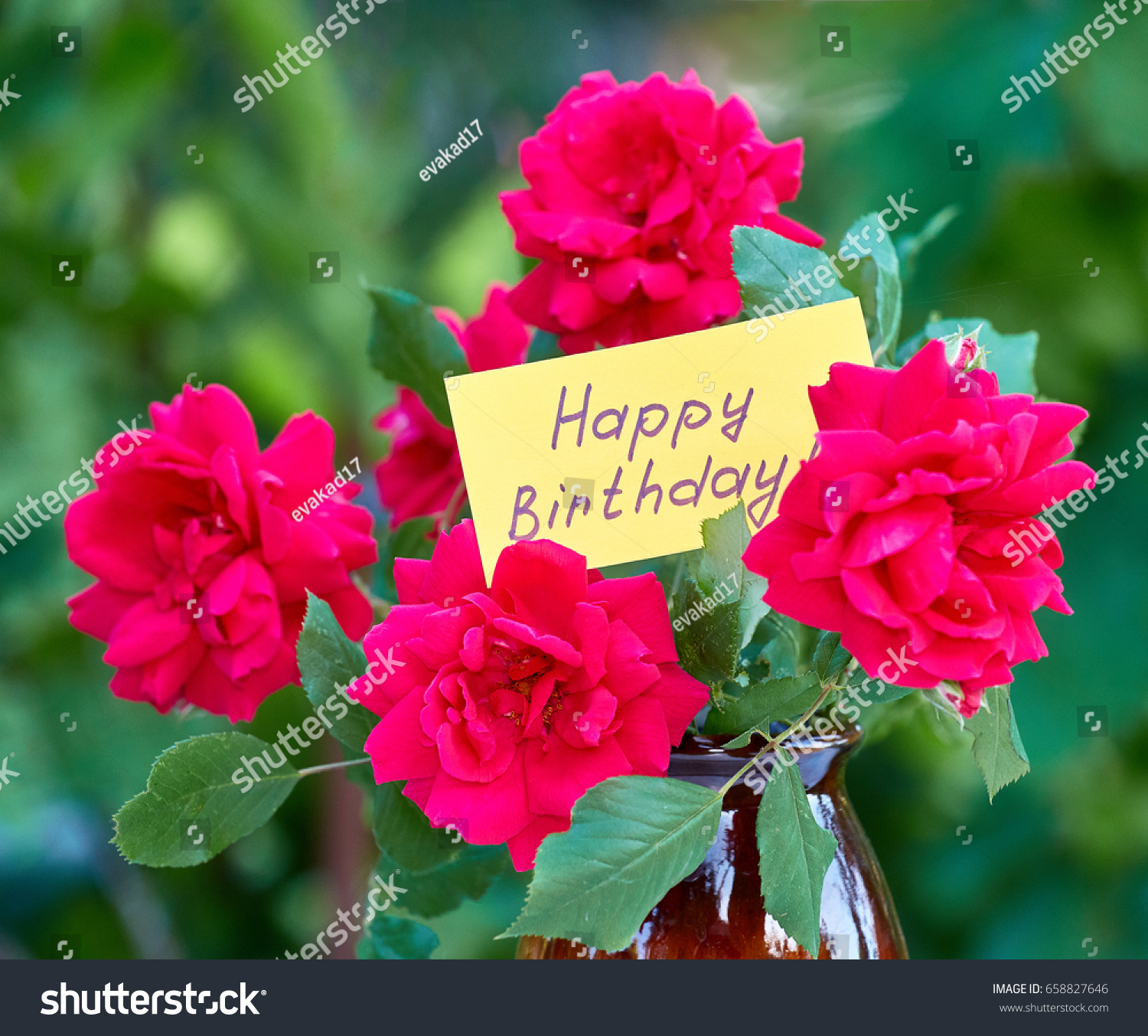 Beautiful Flowers Card Happy Birthday Stock Photo Edit Now