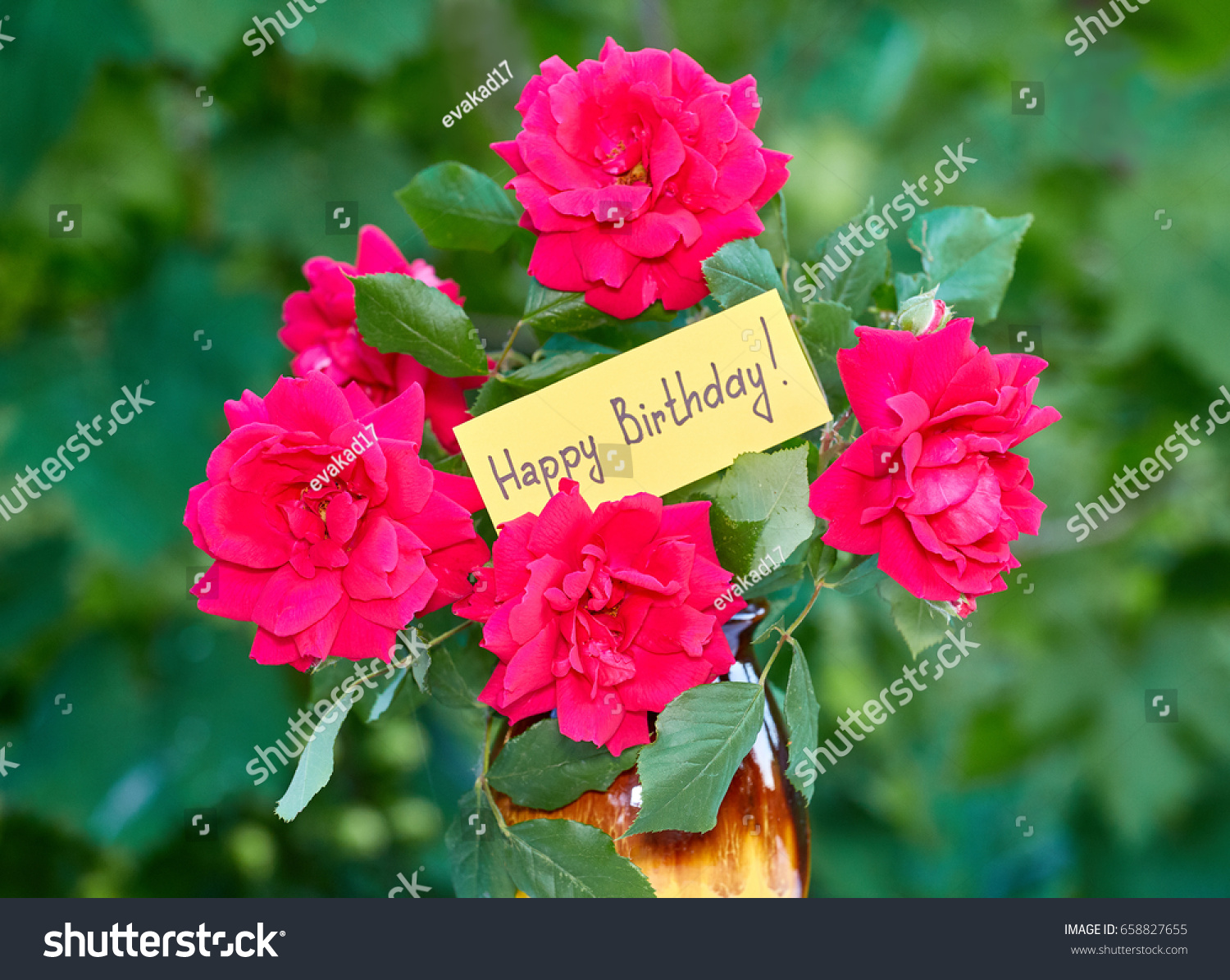Beautiful Flowers Card Happy Birthday Stock Photo Royalty Free