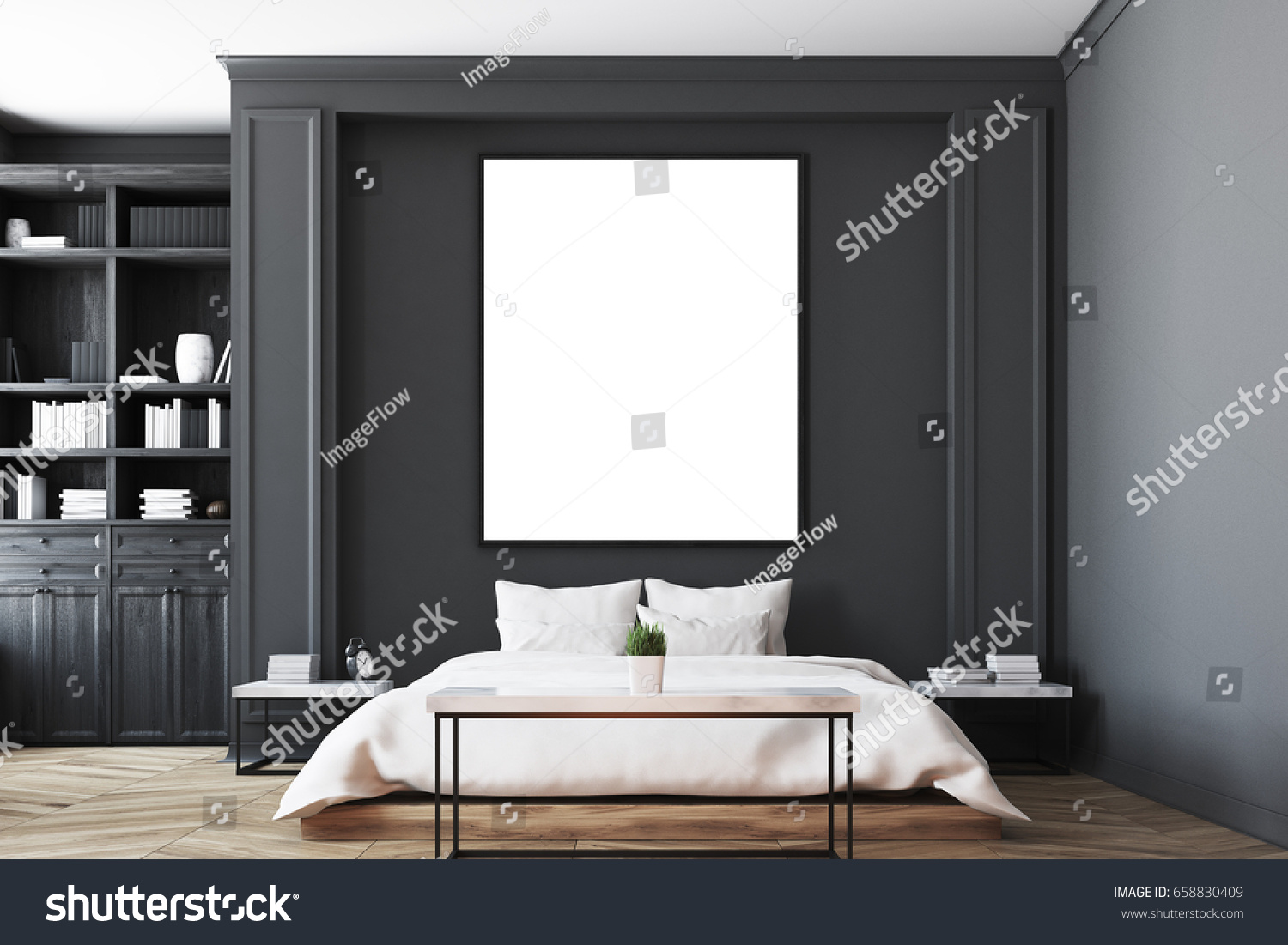 luxury bedroom interior with gray and black walls a bookcase a double bed - Black Luxury Bedrooms