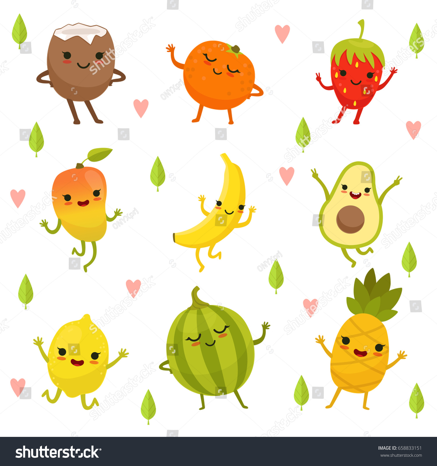 funny emotion on cartoon fruits vegetables stock vector 658833151