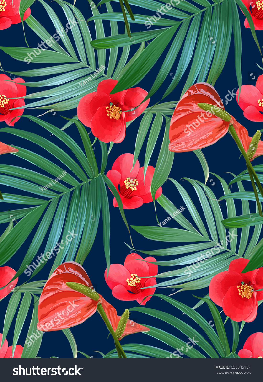 Vector tropical flowers palm leaves seamless stock vector 2018 vector tropical flowers and palm leaves seamless pattern floral exotic hawaiian background blooming elements izmirmasajfo Images