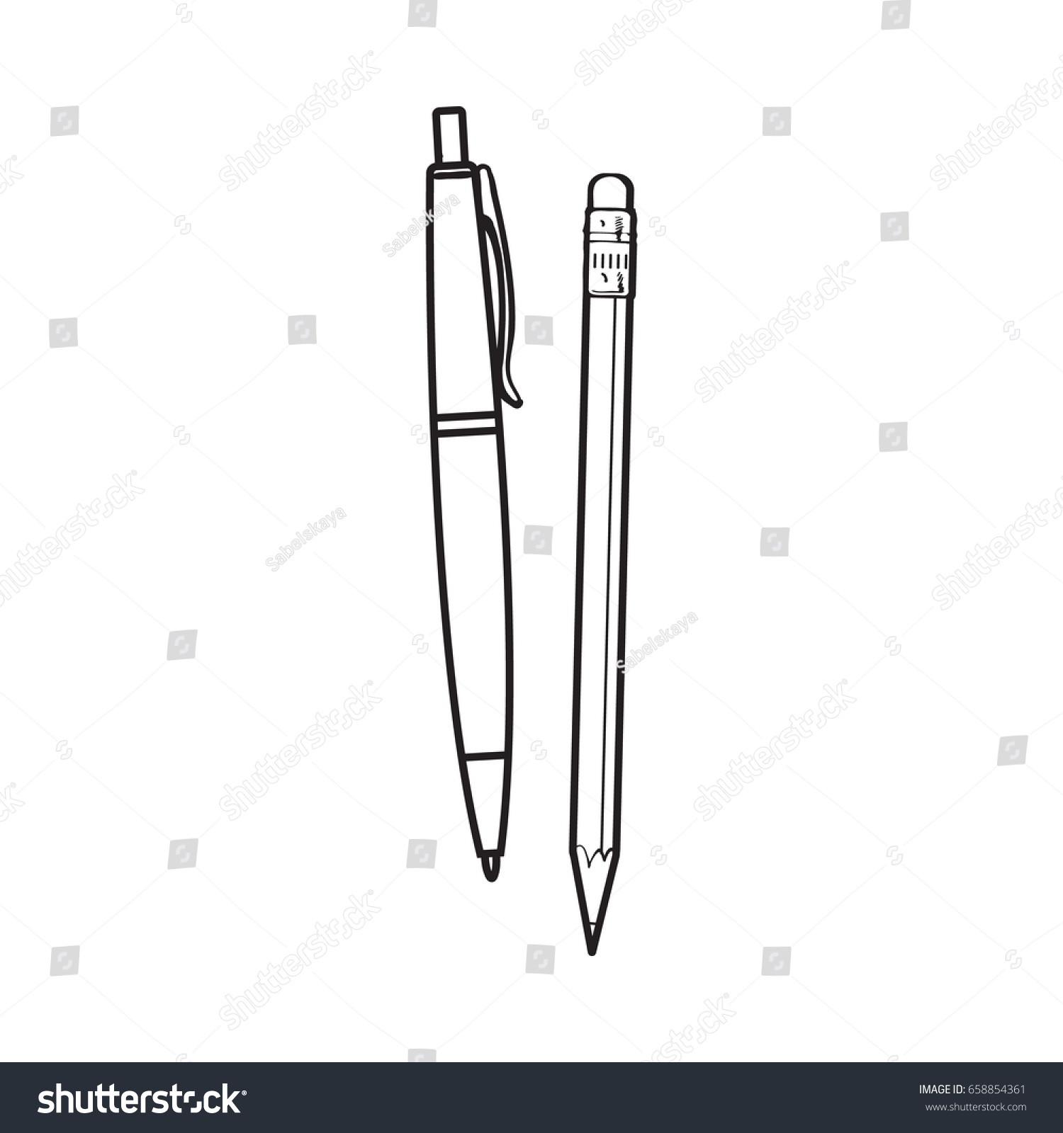 Simple Hand Drawn Ball Point Pen Stock Vector Royalty Free Ballpoint Diagram And Pencil Office Supplies Black White Sketch
