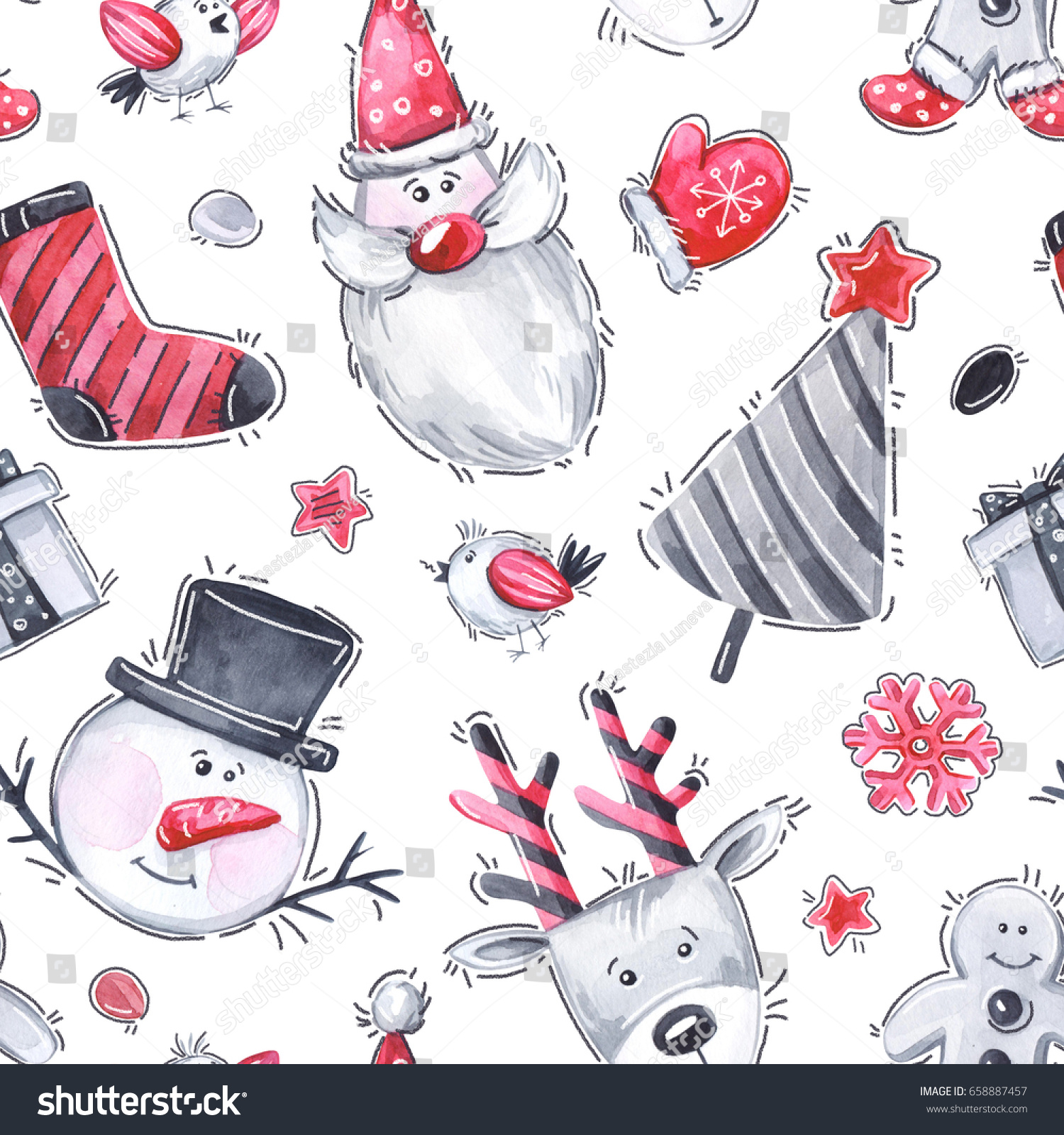 Watercolor Seamless Greeting Pattern New Year Stock Illustration ...