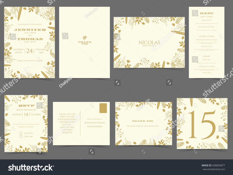 Set Wedding Invitation Card Gold Flowers Stock Vector (Royalty Free ...