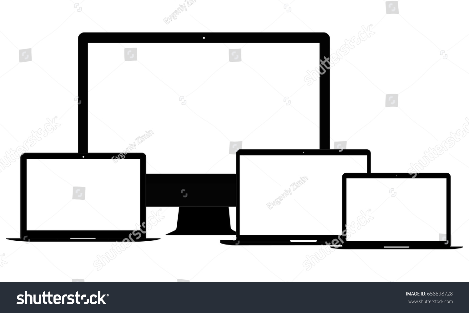 Wireframe Apple Devices Computer Monitor I Mac Stock Vector ...