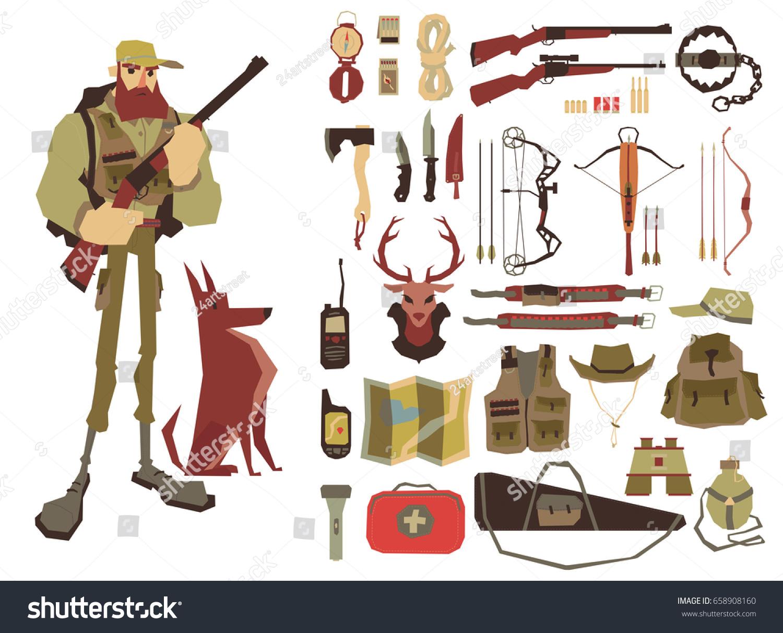 hunter gun dog set hunting equipment のベクター画像素材