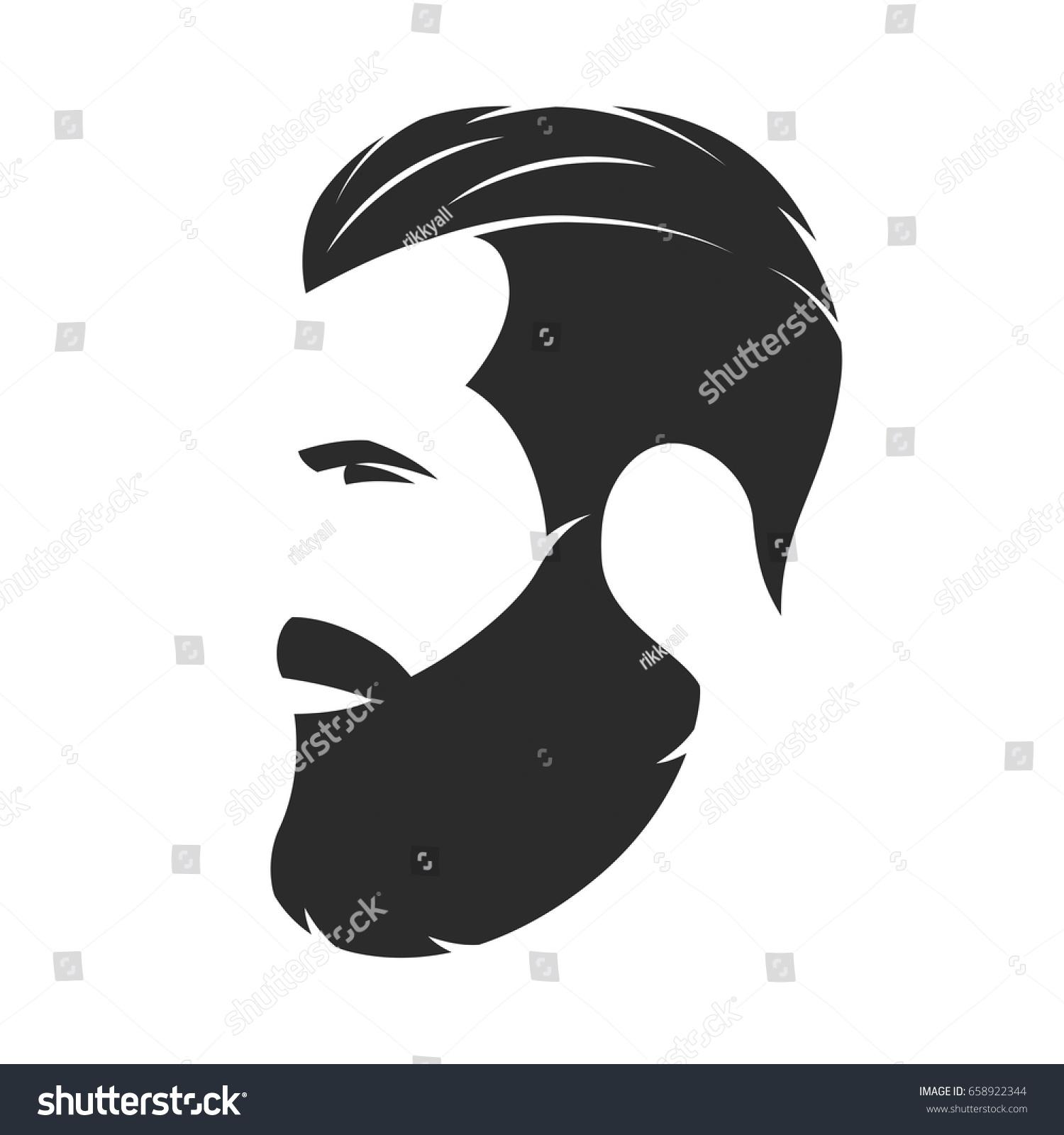 Silhouette Bearded Man Hipster Style Barber Stock Vector