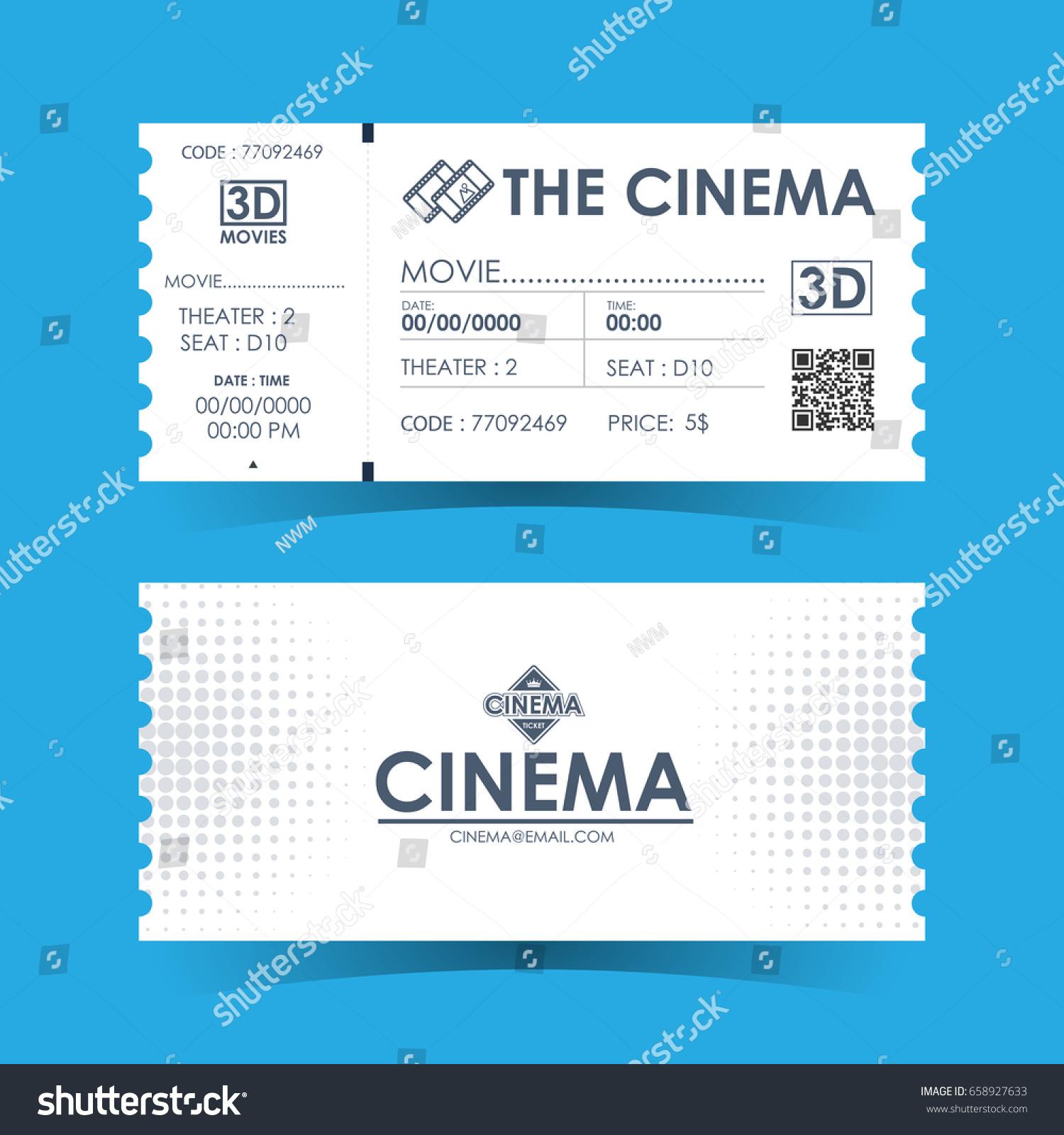 Cinema Ticket Card Element Template Design Vector 658927633 – Theater Ticket Template