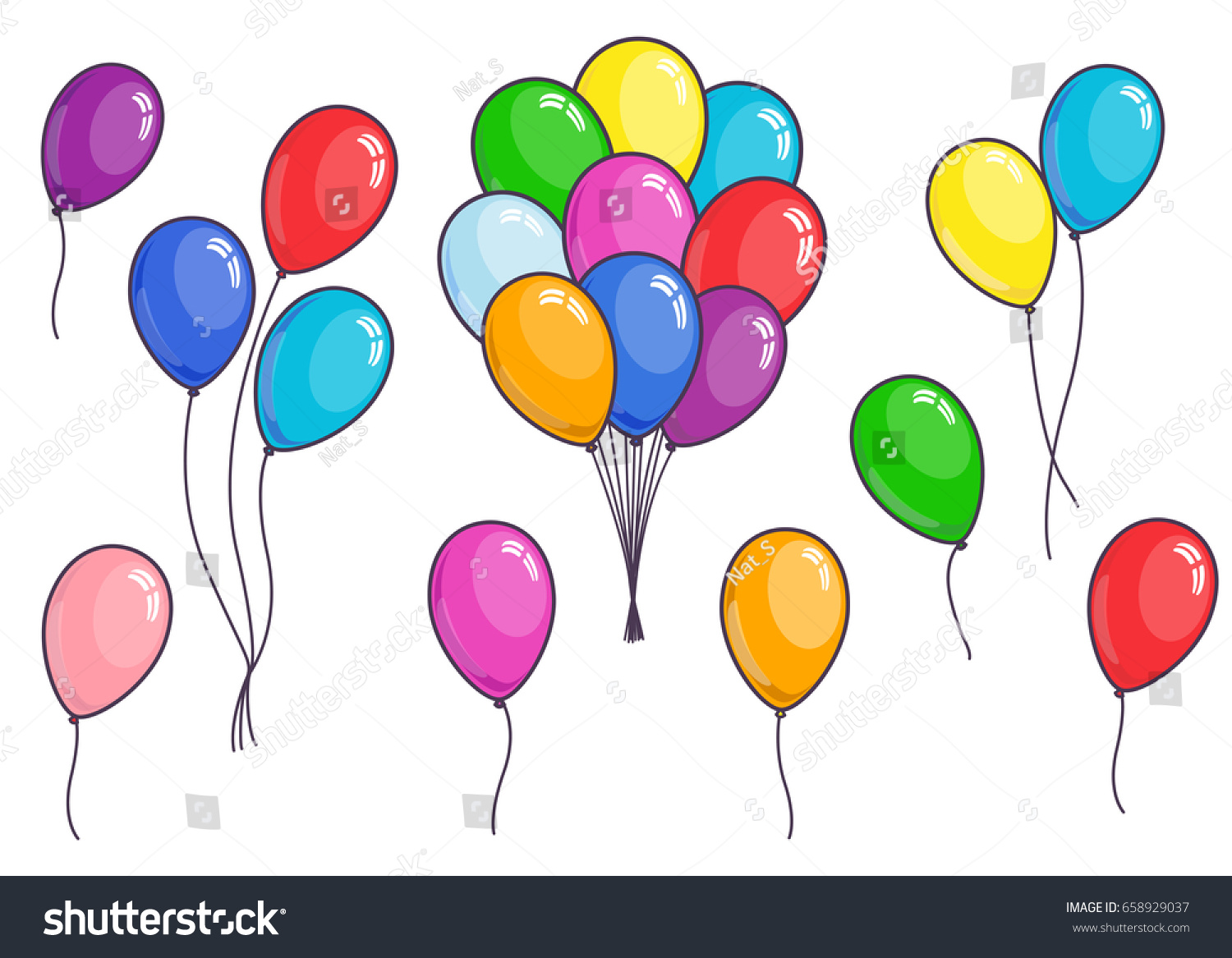 Set Color Cartoon Balloons On White Stock Vector (Royalty Free ...