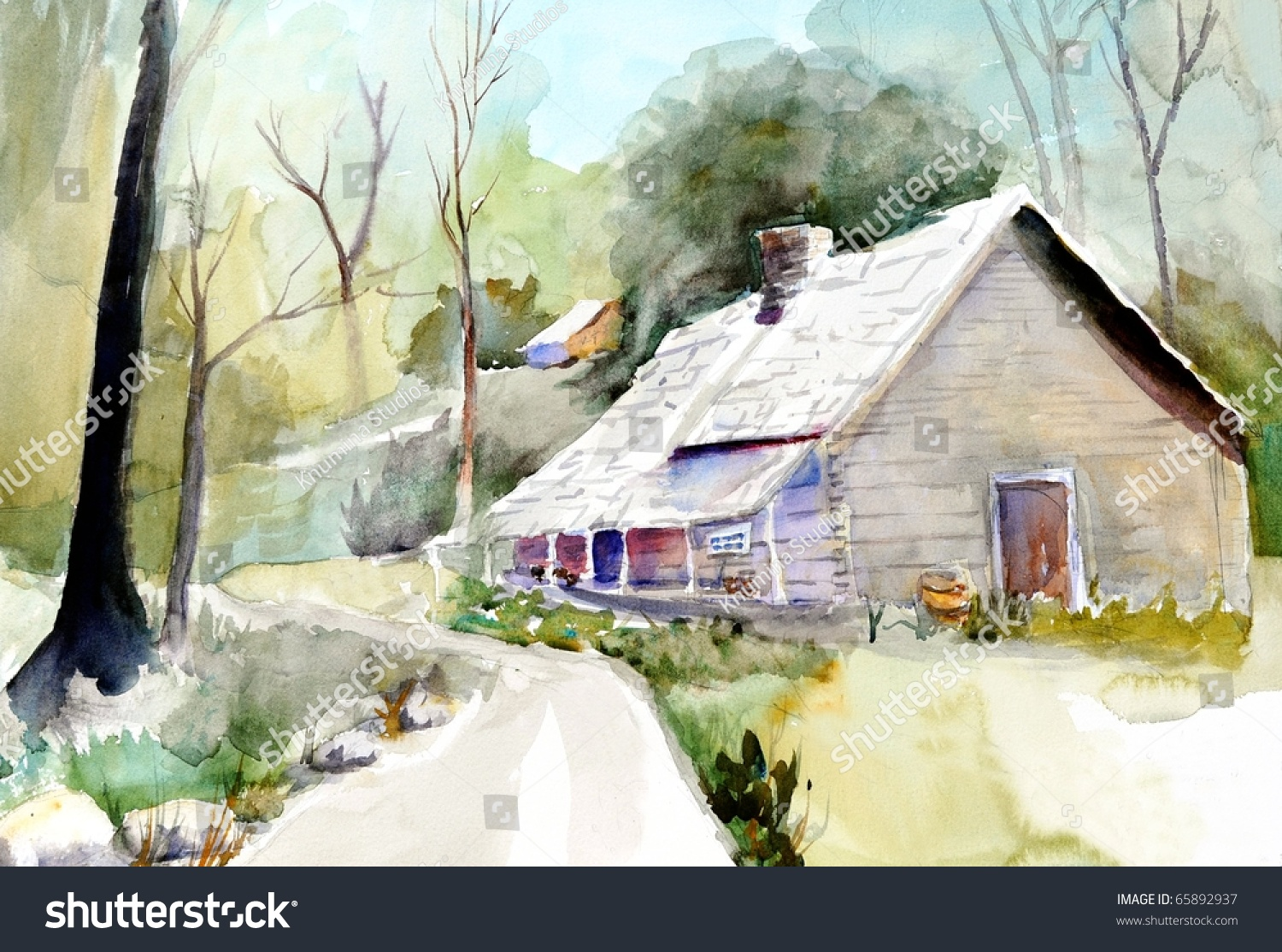Original Watercolor Painting Of Cottage In Woods