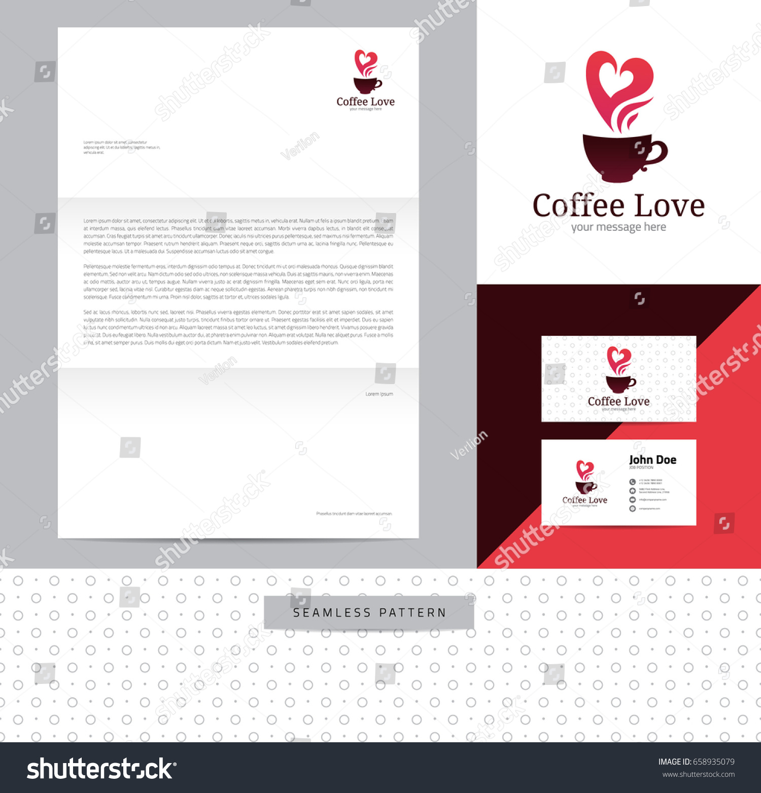Cup hot coffee heart shaped steam stock vector 658935079 shutterstock cup of hot coffee with heart shaped steam identity design consisting of logo business card colourmoves