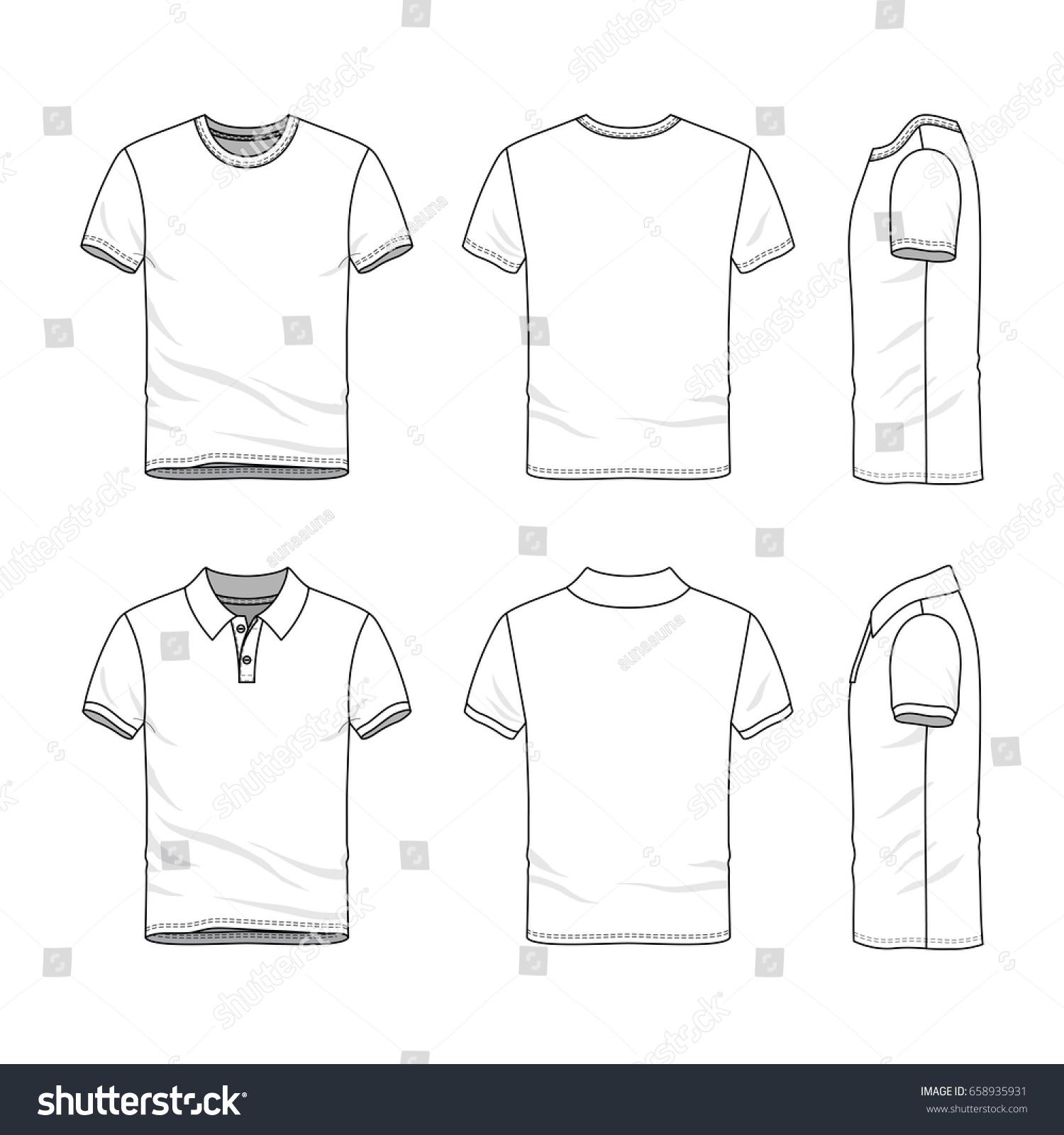 Clothing Set Blank Vector Templates White Stock Vector 658935931 ...