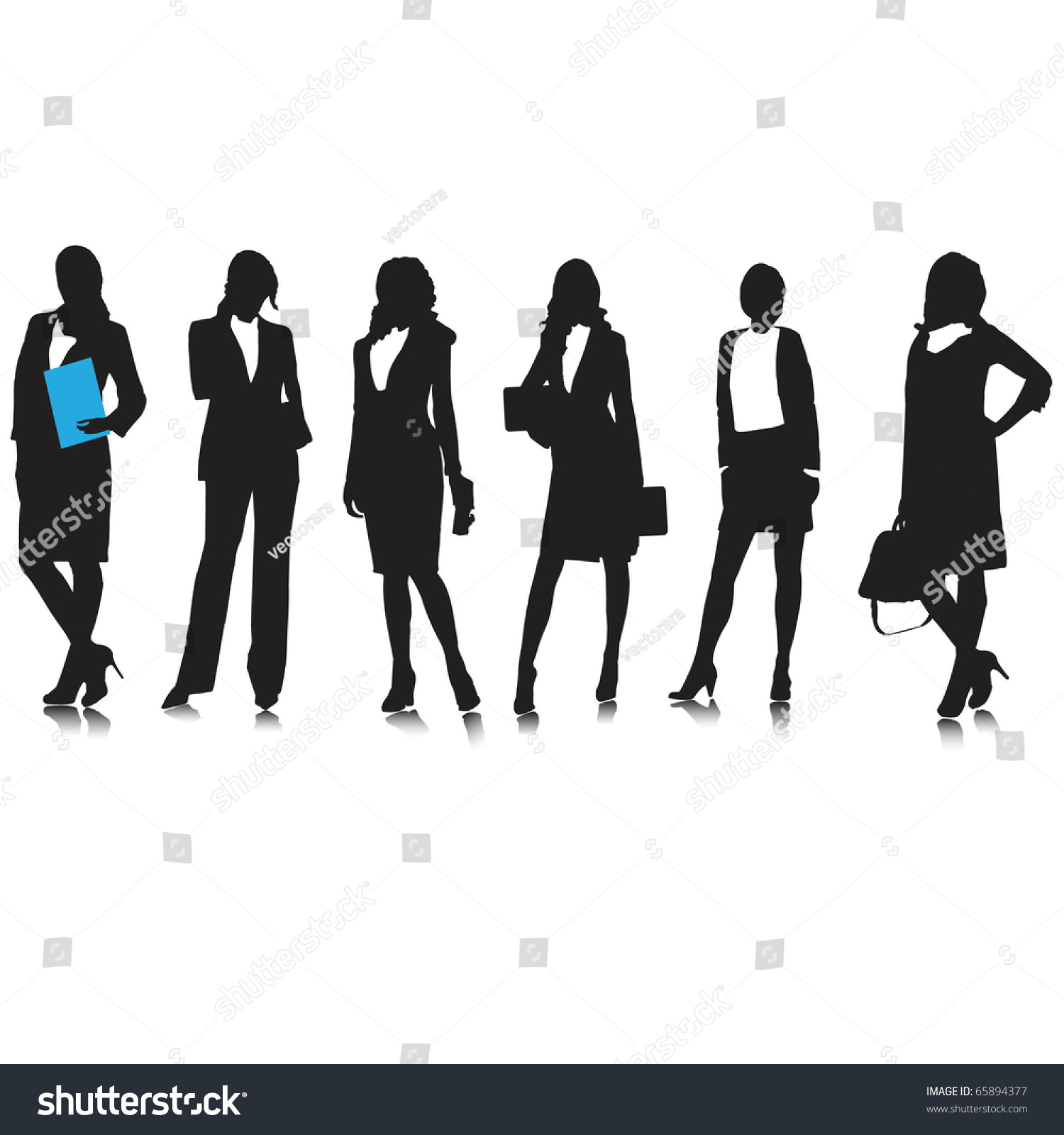 Business Woman Silhouettesvector Stock Vektor 65894377 ...