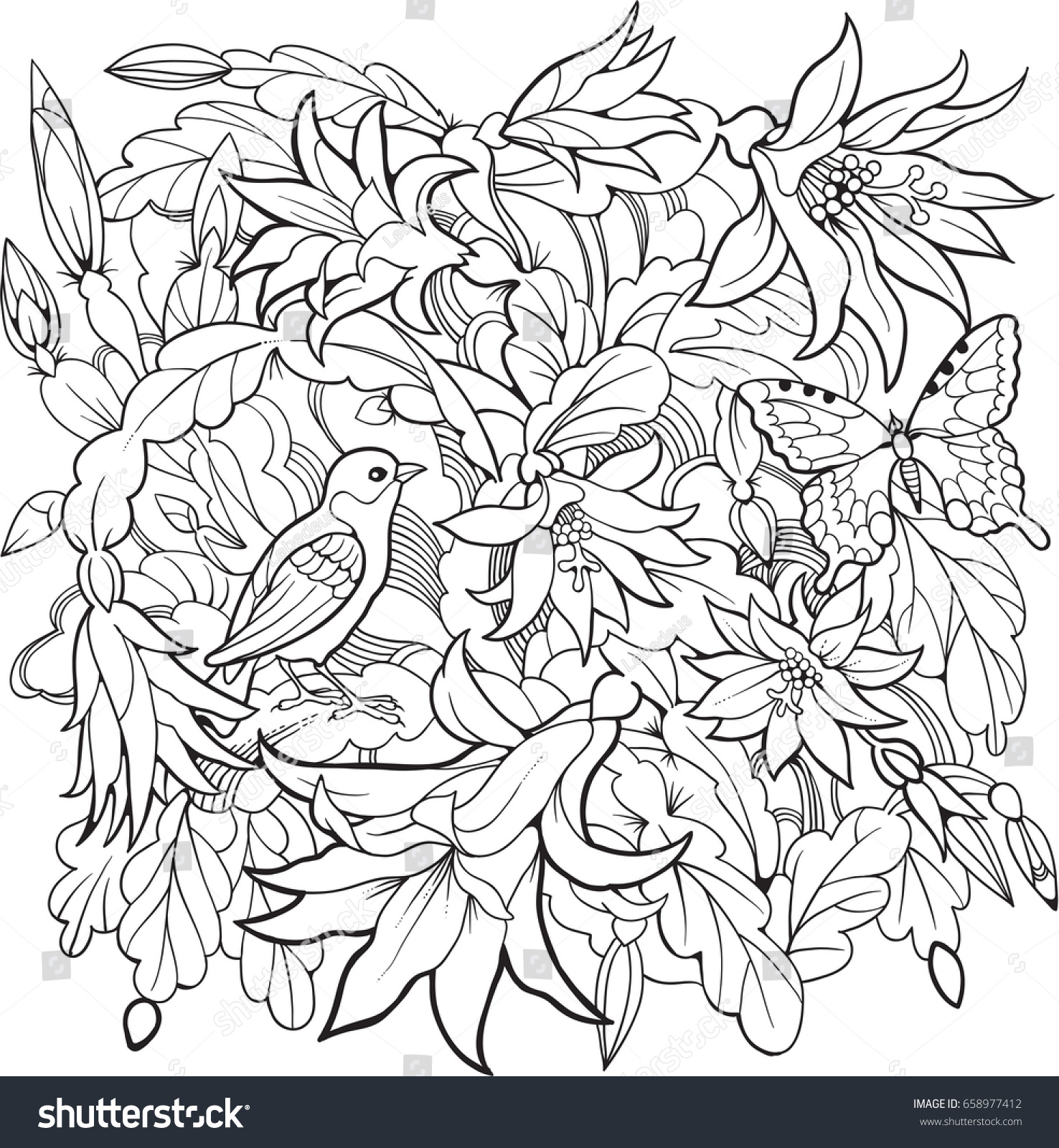 Zygocactus flowers and bird.Line art drawing. Coloring page for ...