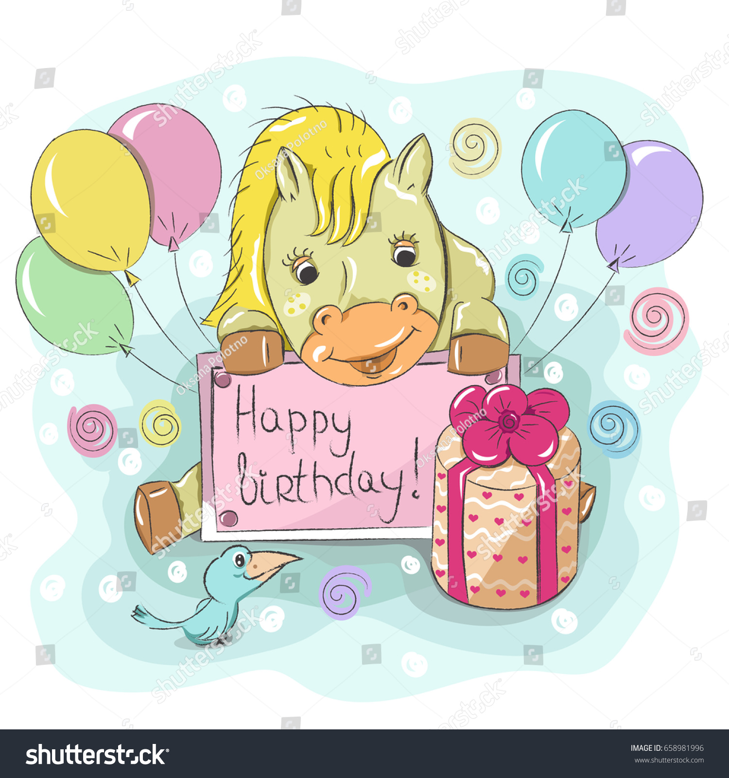 Childrens Birthday Greeting Card Little Cartoon Stock Vector