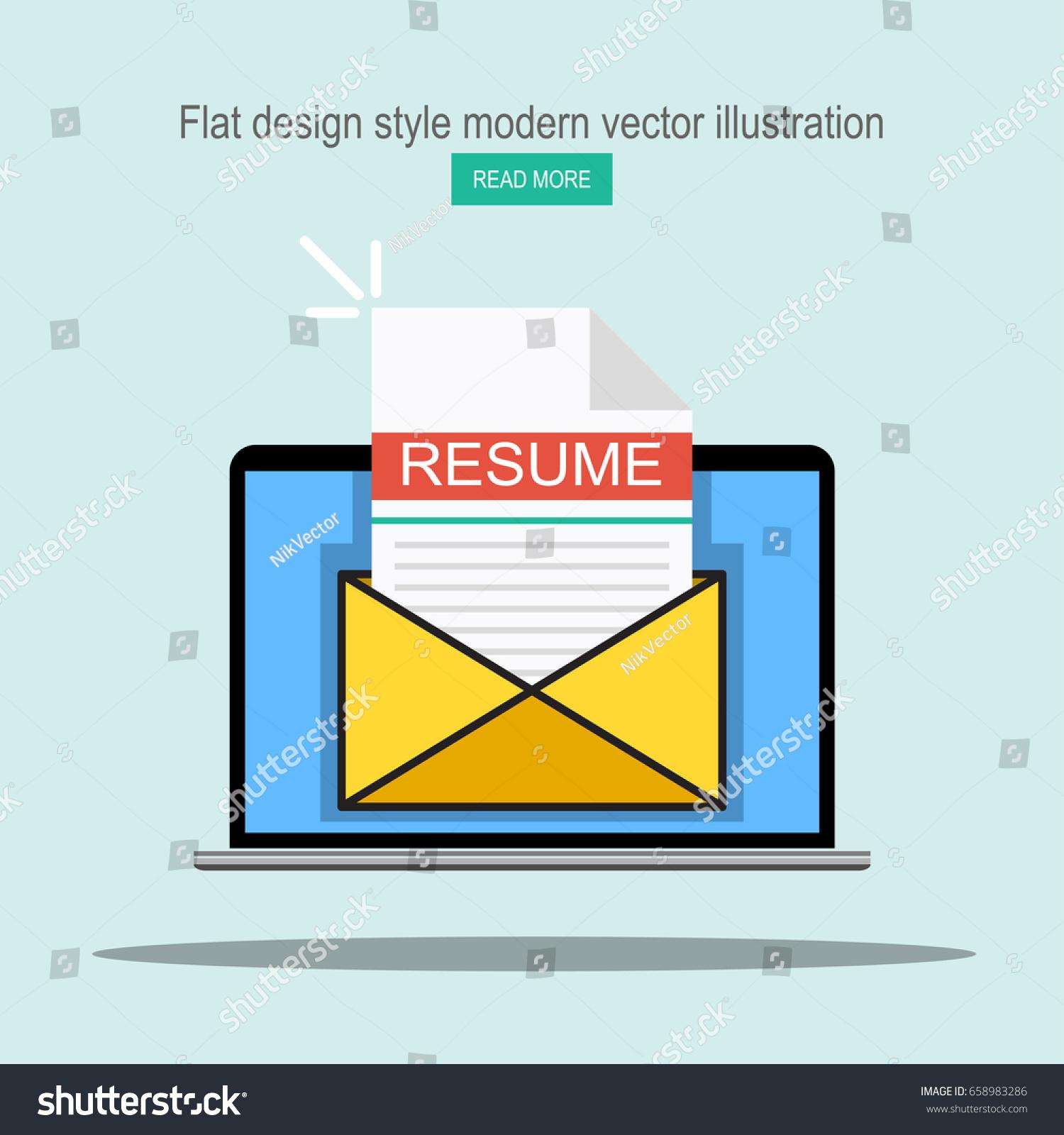 Laptop Envelope Resume Letter Email Cv Stock Vector 658983286
