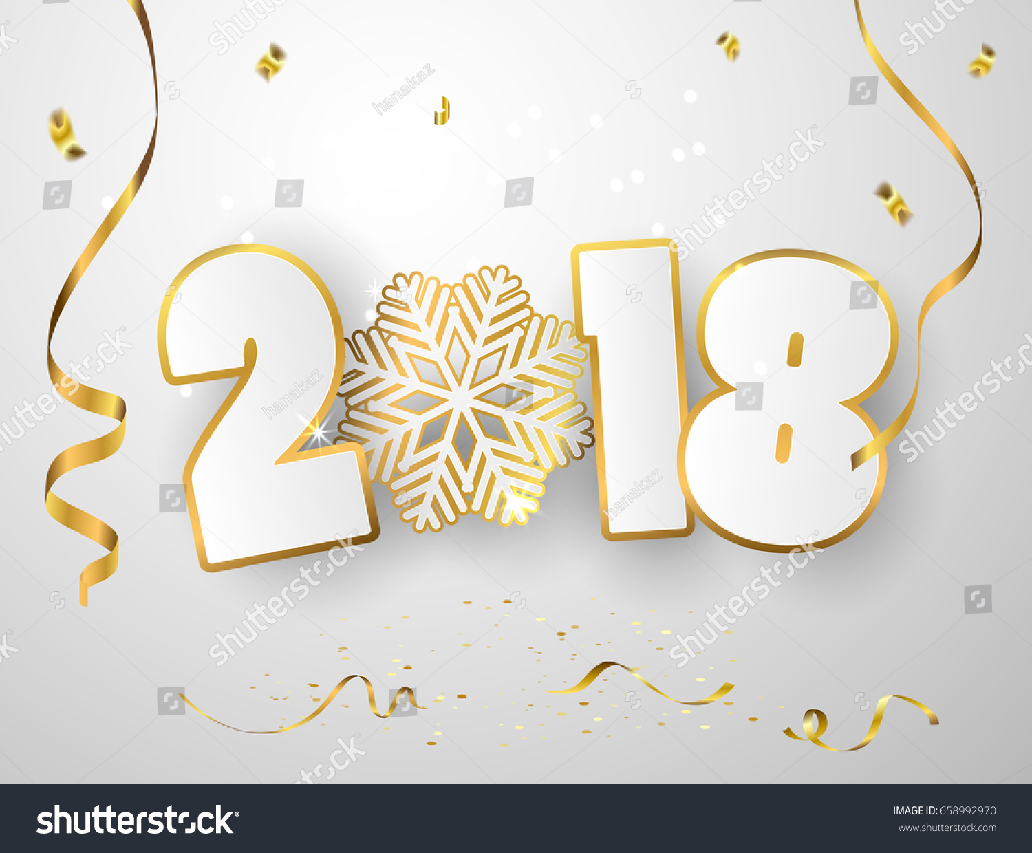 vector happy new year 2018 background with gold paper cuttings
