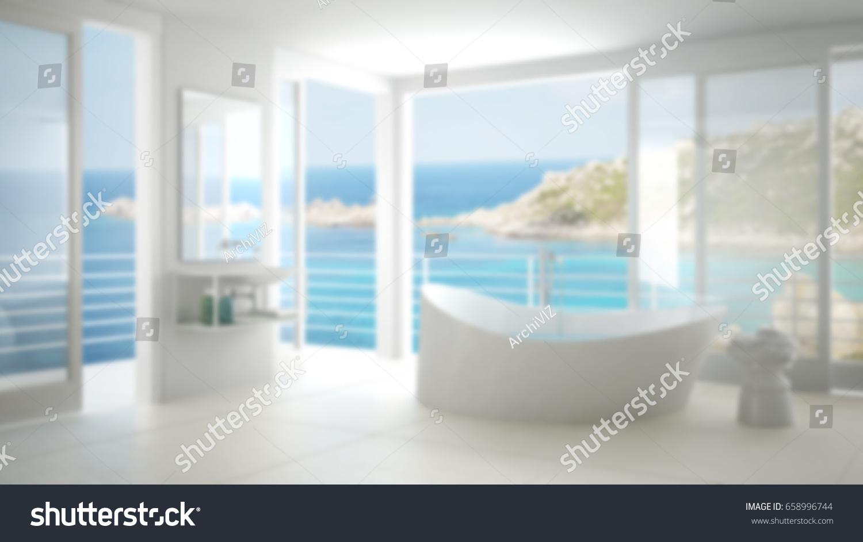 Blur background interior design, minimalist bathroom with big window, 3d  illustration
