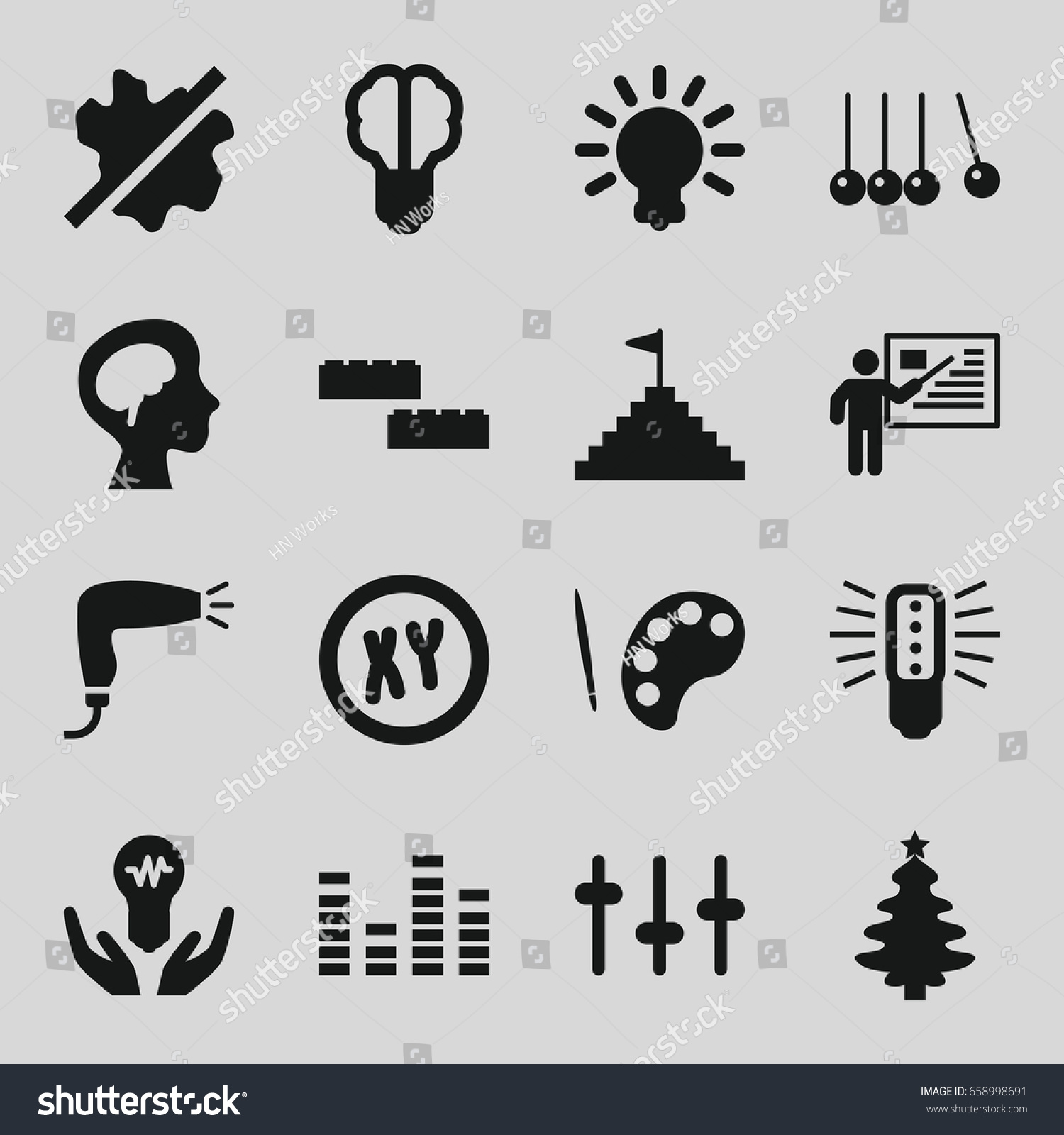 Creative icons set set 16 creative stock vector 658998691 creative icons set set of 16 creative filled icons such as hair dryer no biocorpaavc