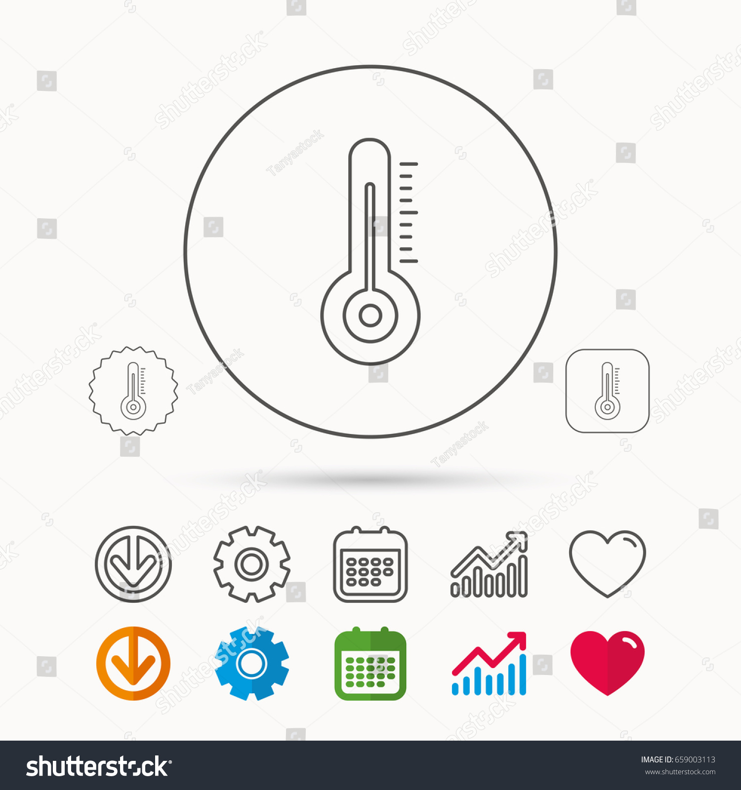 Thermometer icon weather temperature sign meteorology stock vector weather temperature sign meteorology symbol calendar graph chart and cogwheel biocorpaavc
