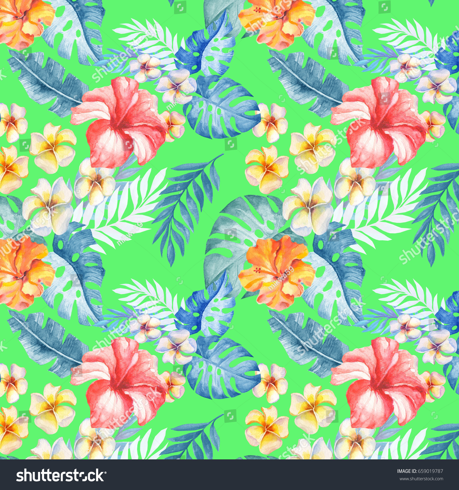 Macaw Seamless Pattern Palm Leaves And Tropical Flower Tropical