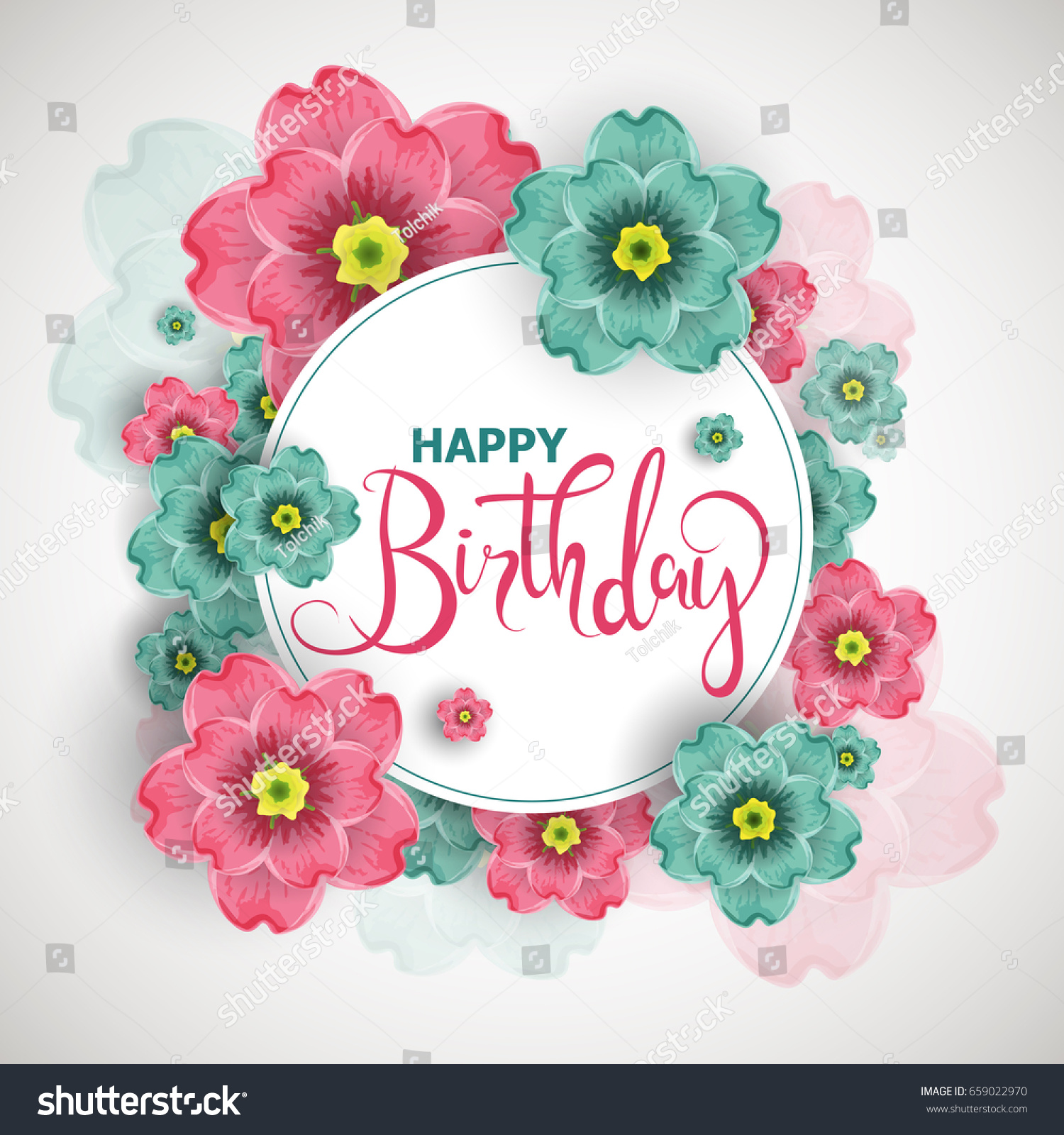 Birthday greeting card poster invitation design stock vector birthday greeting card poster invitation design with blossoms flowers vector illustration stopboris Image collections