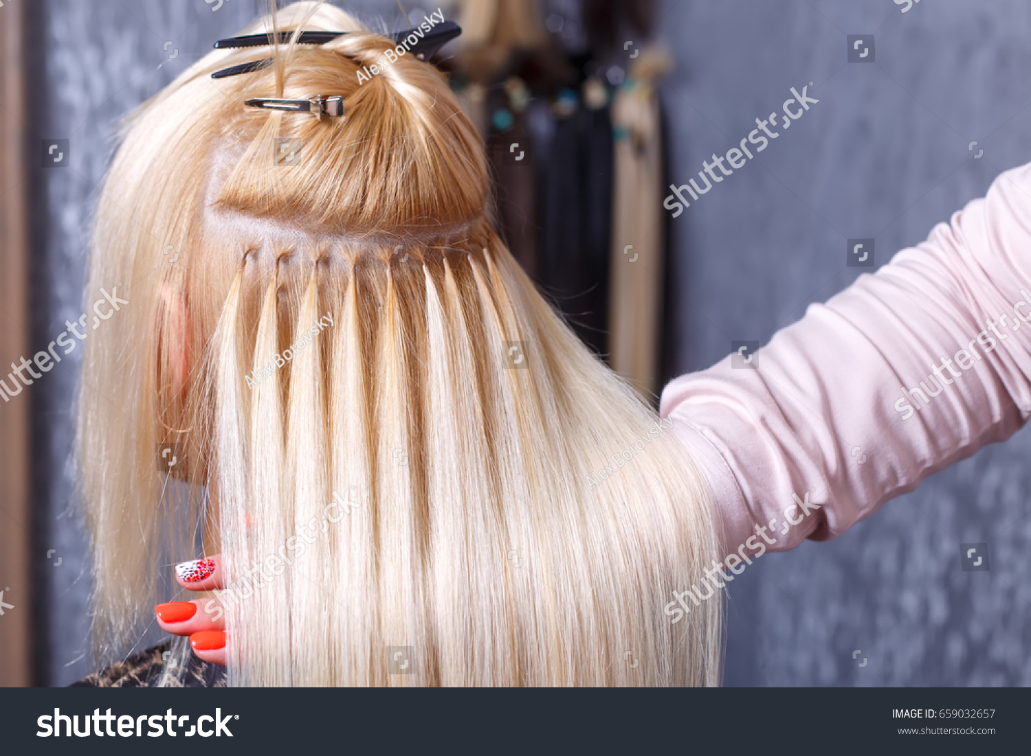 Hair Extensions Procedure Hairdresser Does Hair Stock Photo Edit