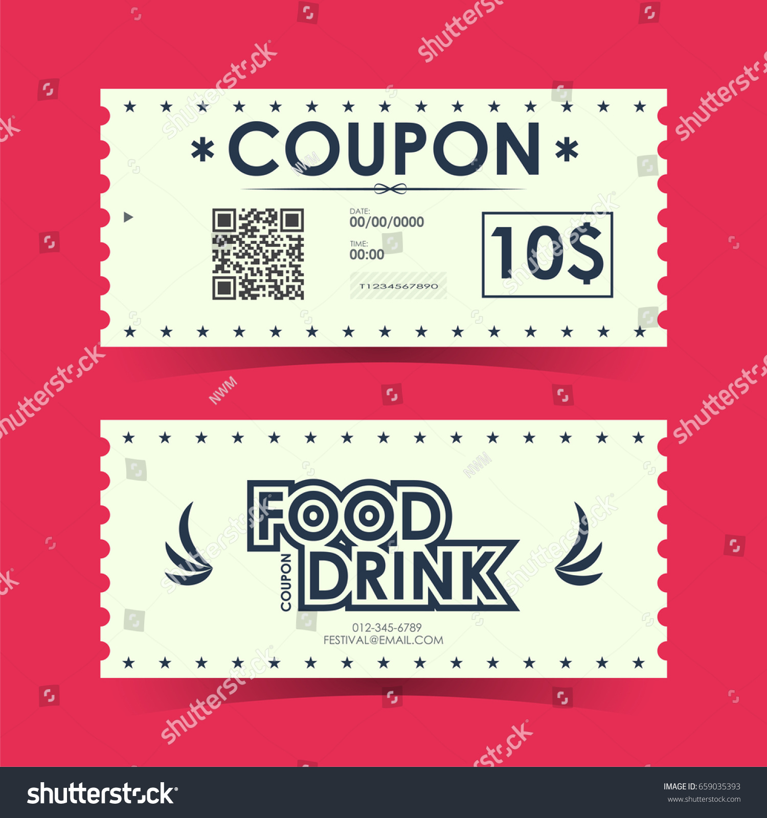 Coupon Ticket Card Element Template Design Stock Vector Royalty