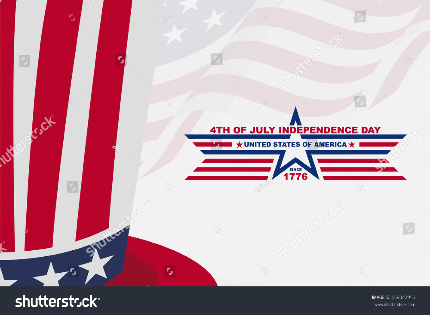American Independence Day Background Hat Greeting Stock Vector