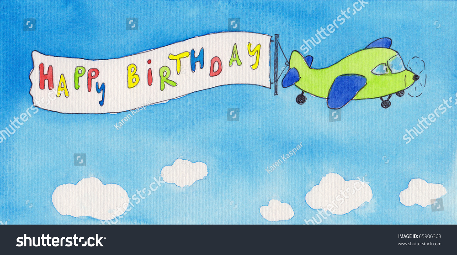 Airplane Pulling Happy Birthday Banner Watercolor Stock