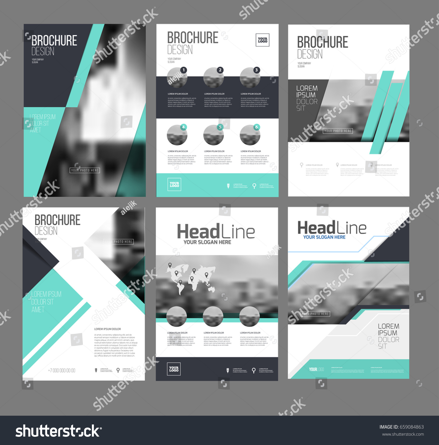 six trendy brochures templates photo text stock vector royalty free