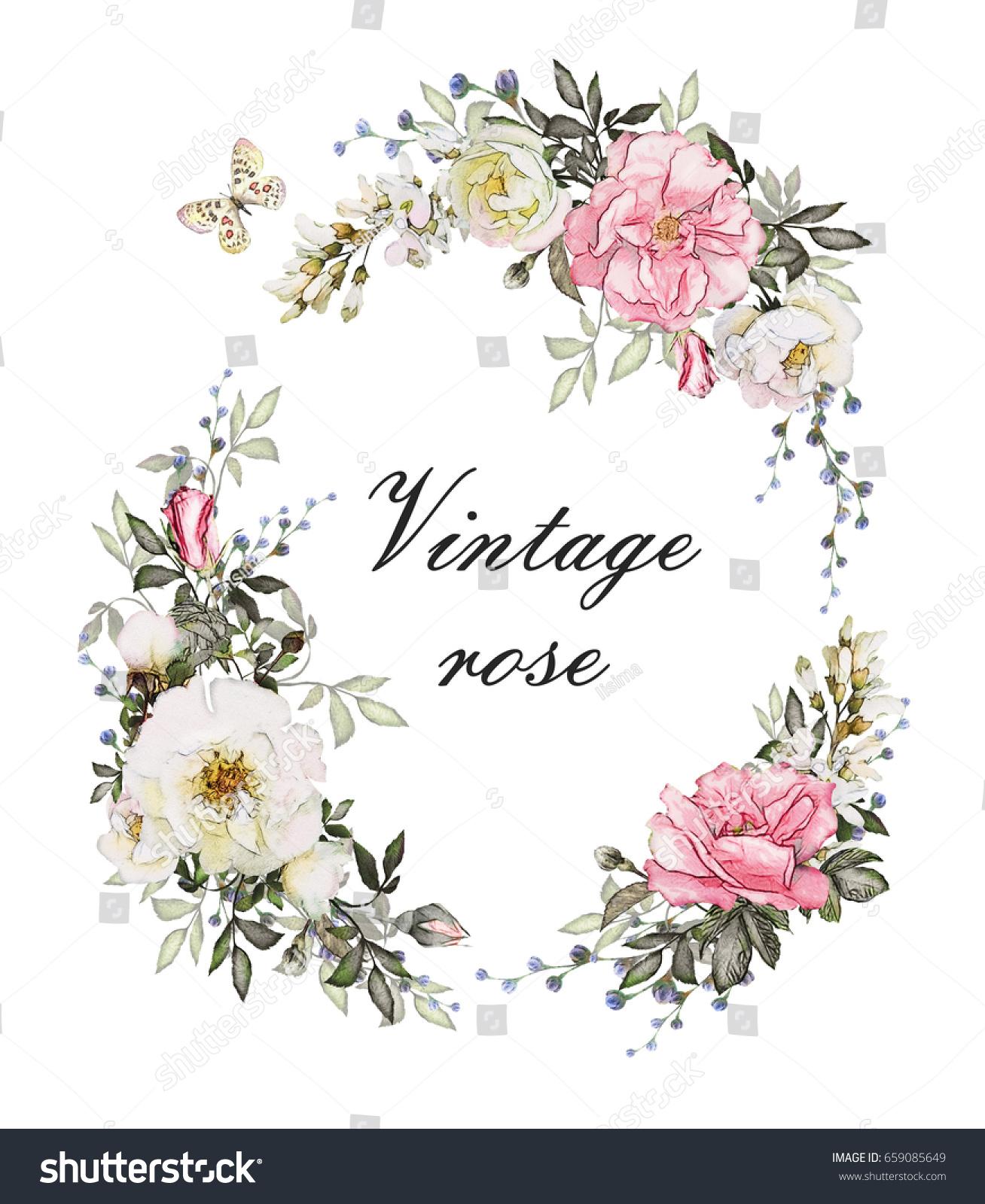 Vintage Card Watercolor Wedding Invitation Design Stock Illustration ...