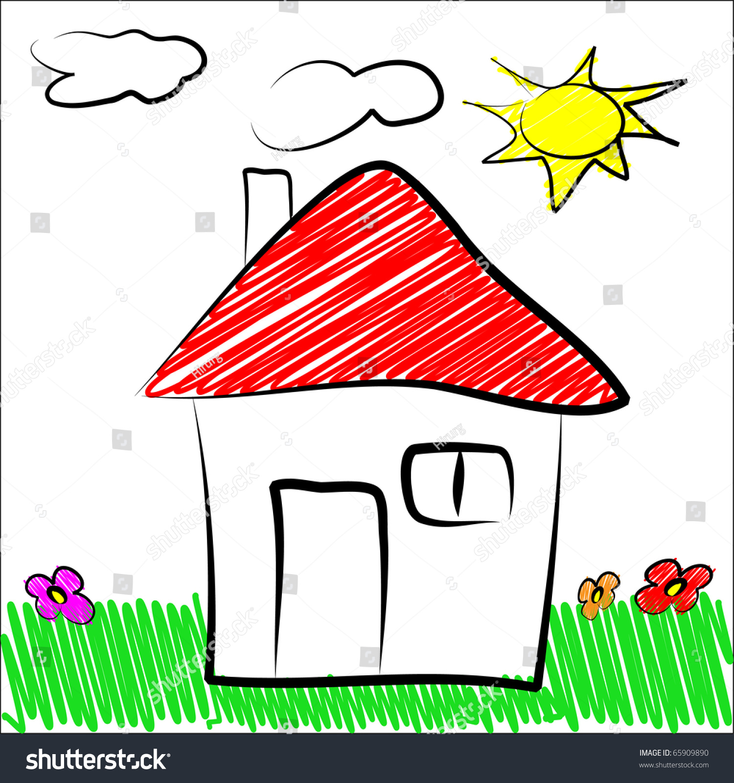 how to draw a 2d house ms paint
