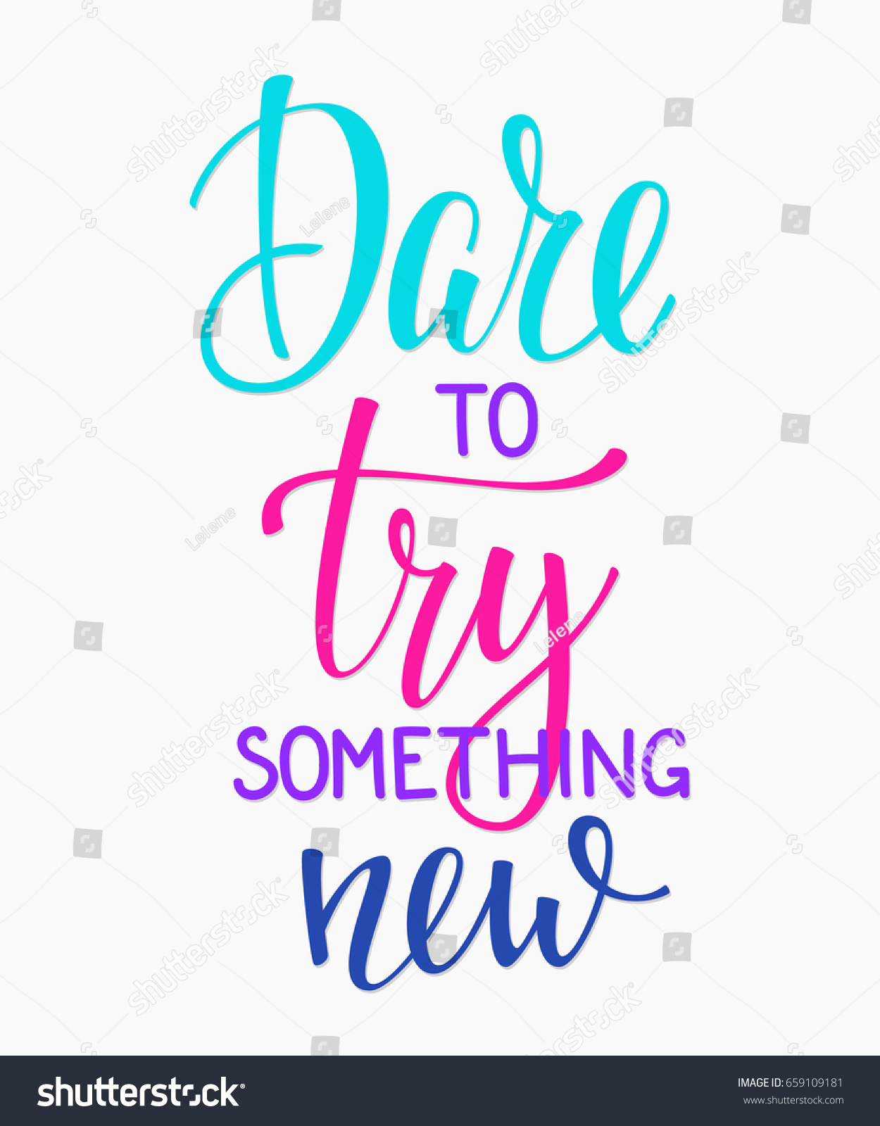 Dare Try Something New Quote Lettering Stock Vector Royalty Free