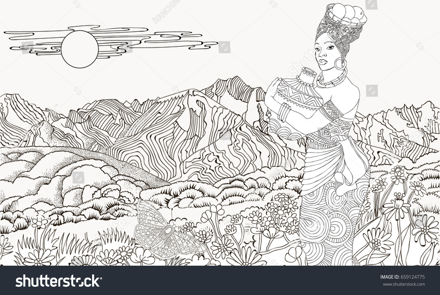african woman background mountain landscape coloring stock