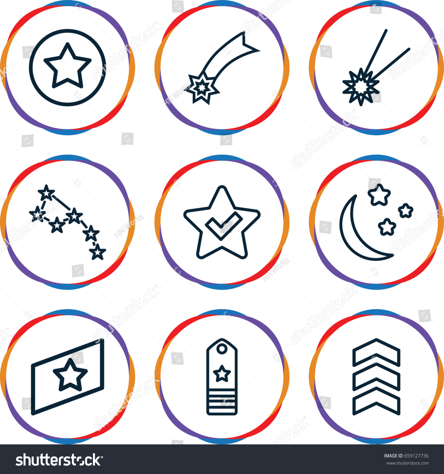 Stars icons set set 9 stars stock vector 659127736 shutterstock stars icons set set of 9 stars outline icons such as moon and stars sciox Images