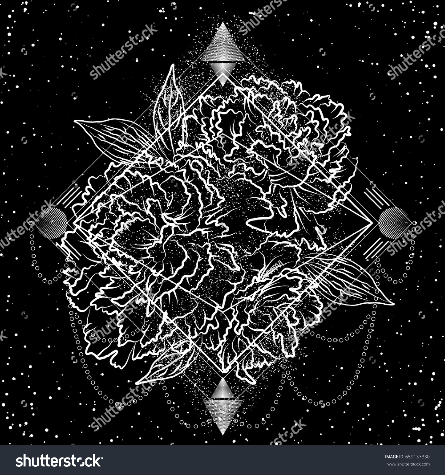 Trendy Black White Floral Graphics Tattoo Stock Vector Royalty Free