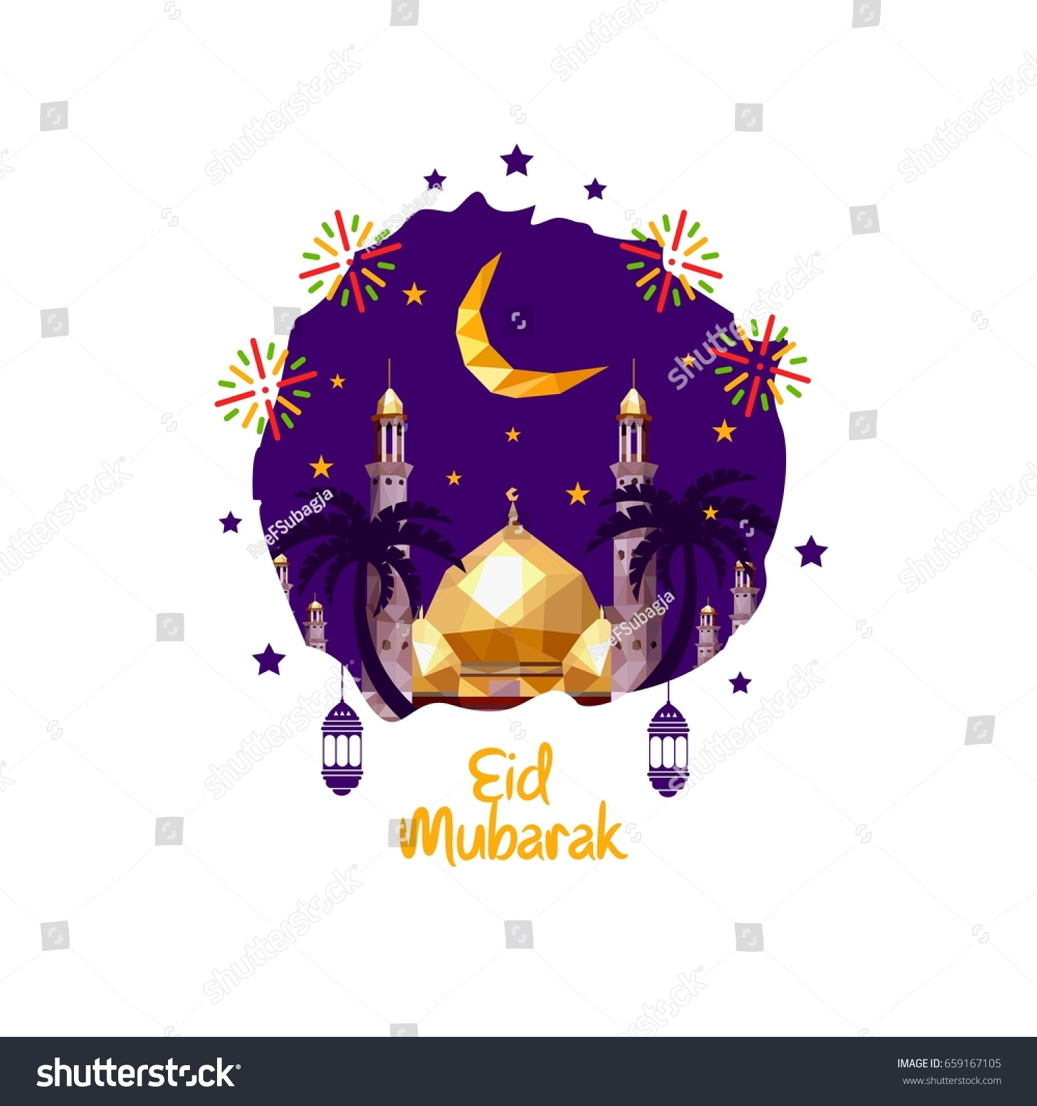 Eid Mubarak Poster Banner Vector Design Stock Vector Royalty Free 659167105