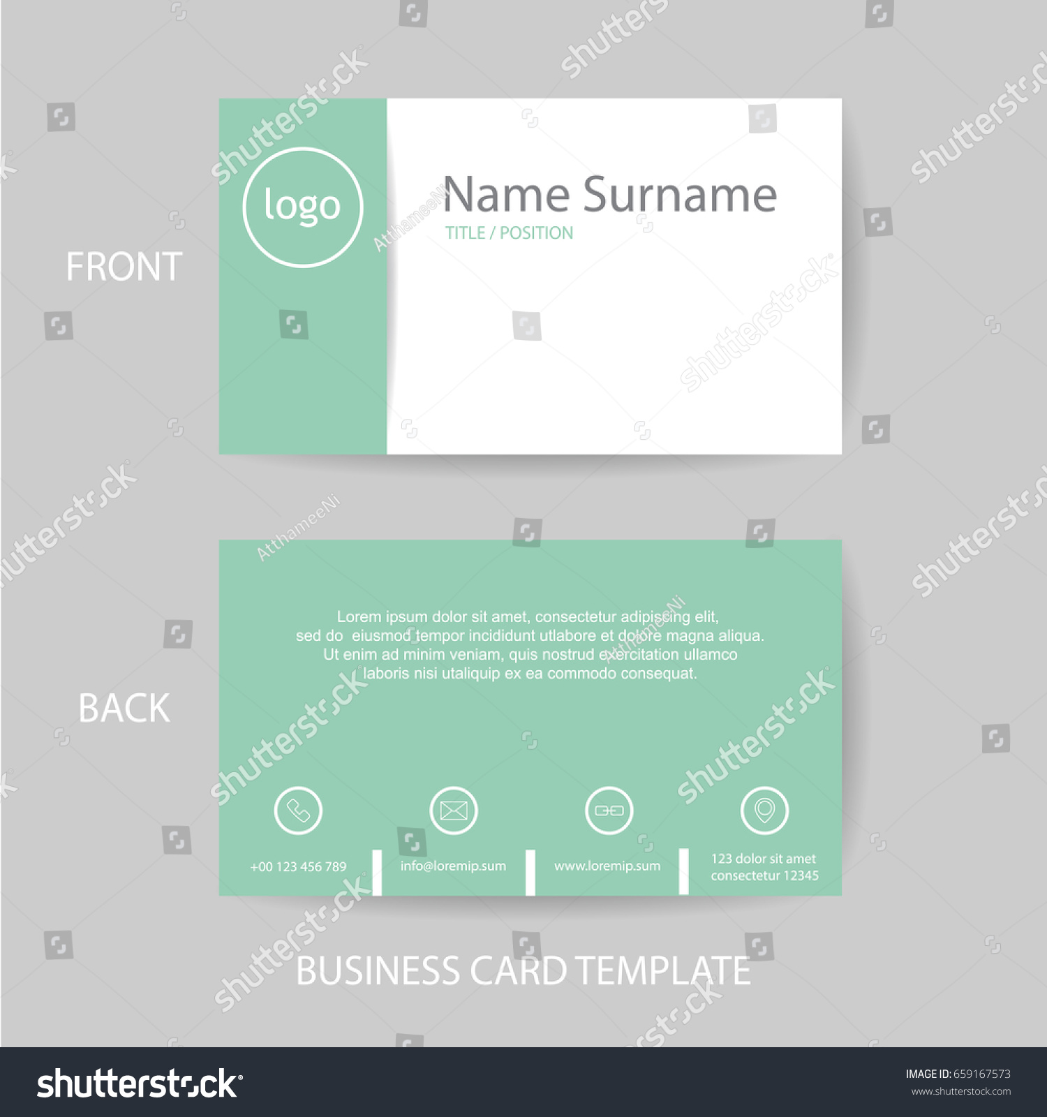 Vector Modern Clean Business Card Name Stock Vector (Royalty Free ...