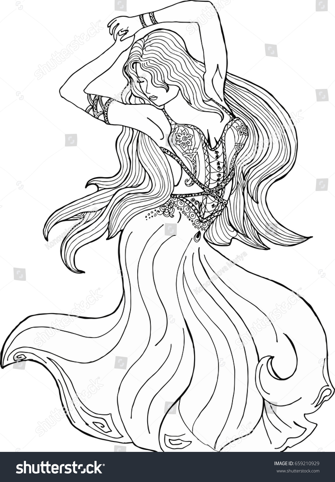 Coloring Pages Adults Girl Dress Dancing Stock Vector 659210929 ...